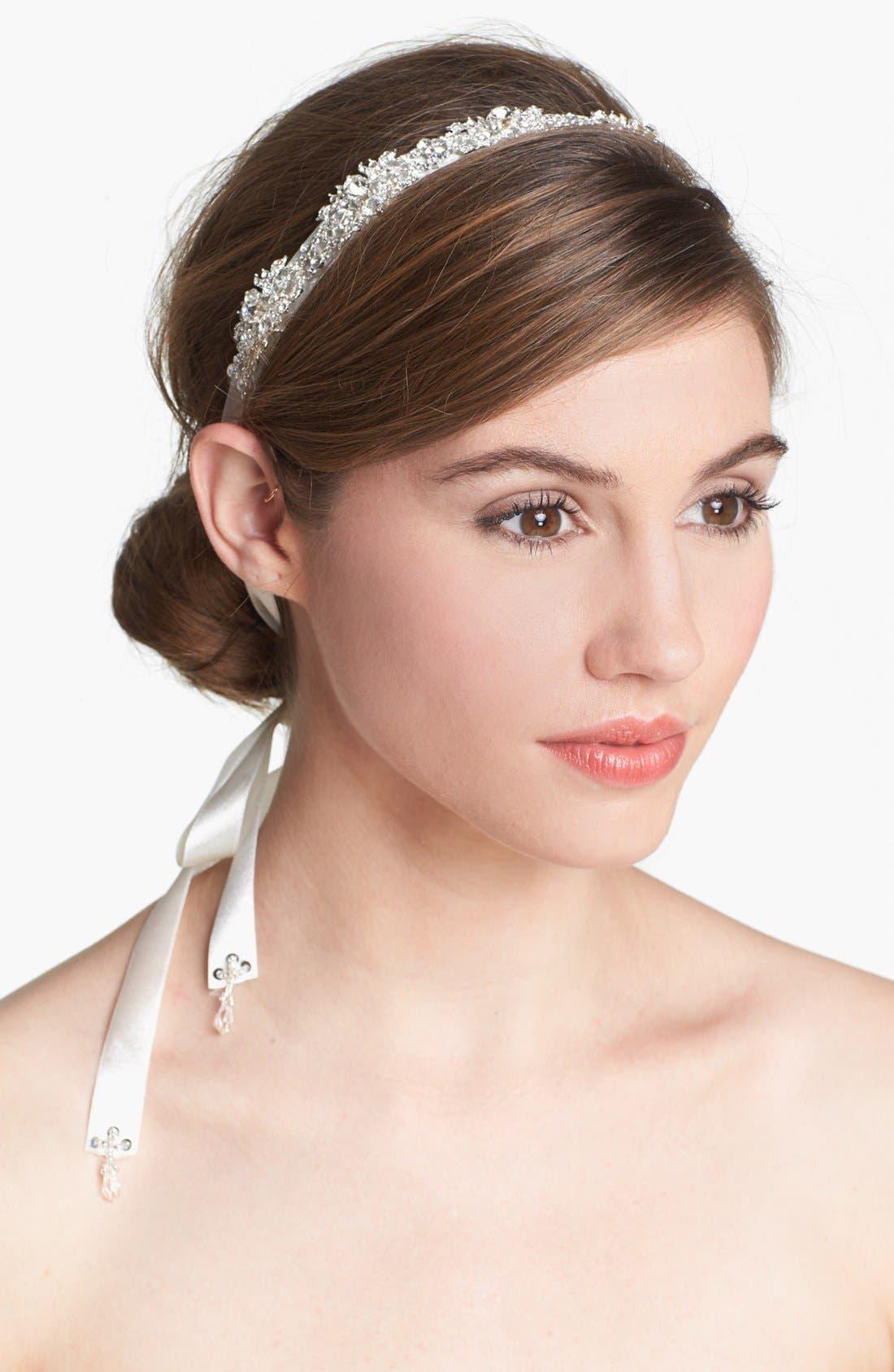 'Serena' Head Wrap,                         Main,                         color, Silver/ Crystal