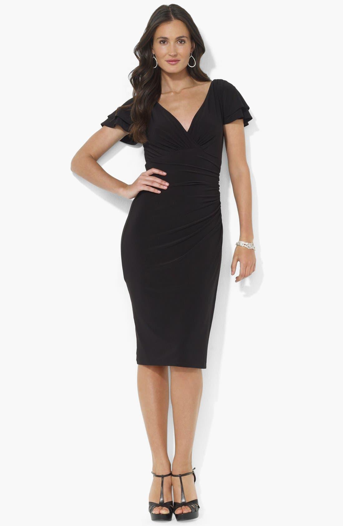 Main Image - Lauren Ralph Lauren Flutter Sleeve Jersey Sheath Dress