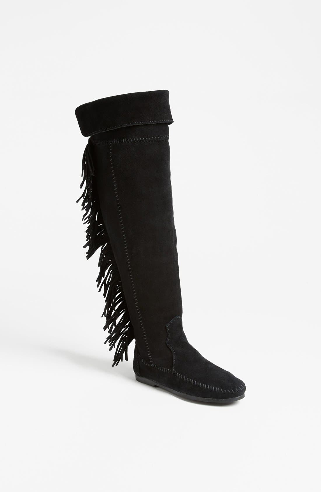 Alternate Image 1 Selected - Minnetonka Over the Knee Fringe Boot