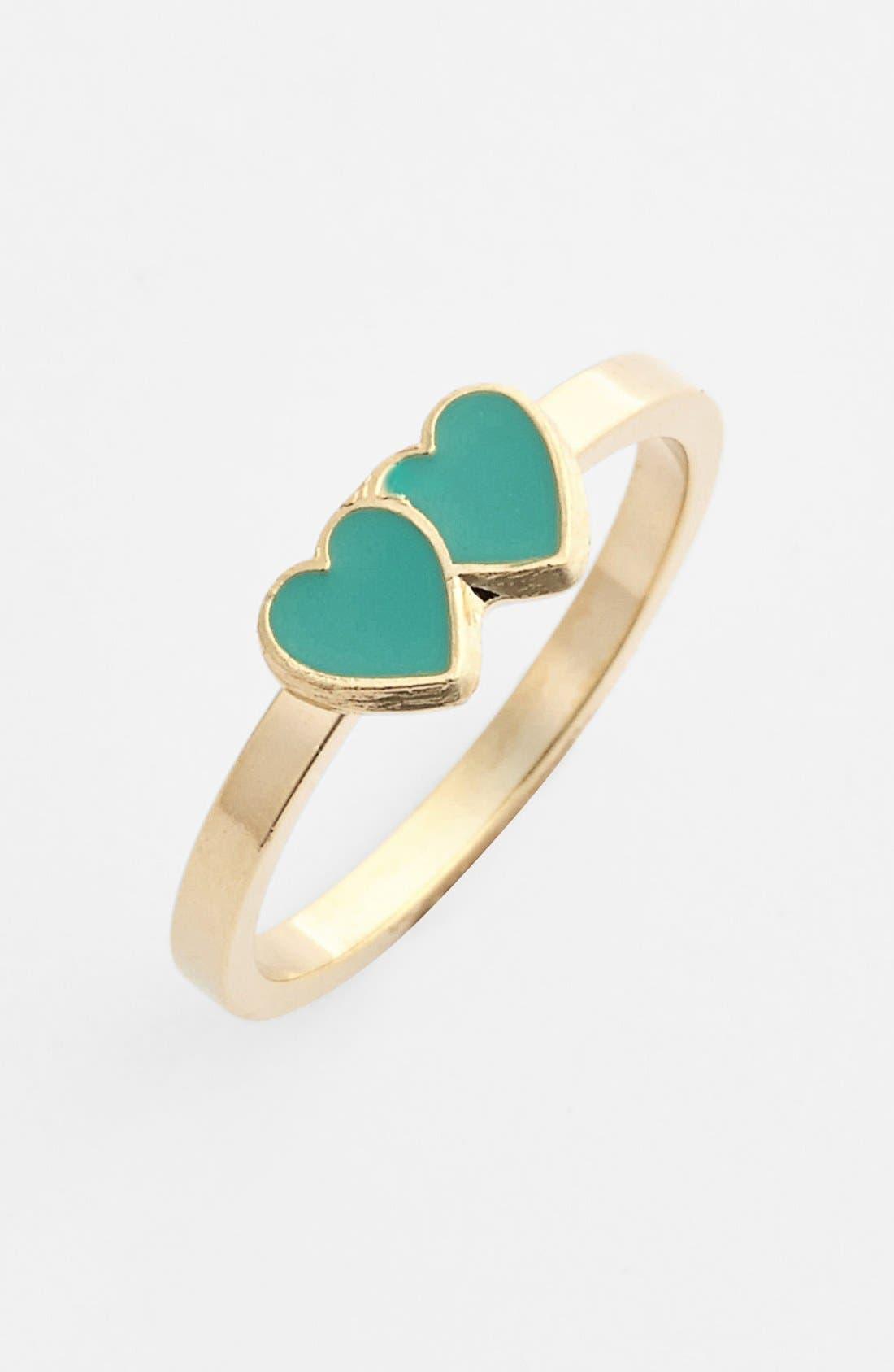 Alternate Image 1 Selected - Rachel Double Heart Midi Ring (Juniors)