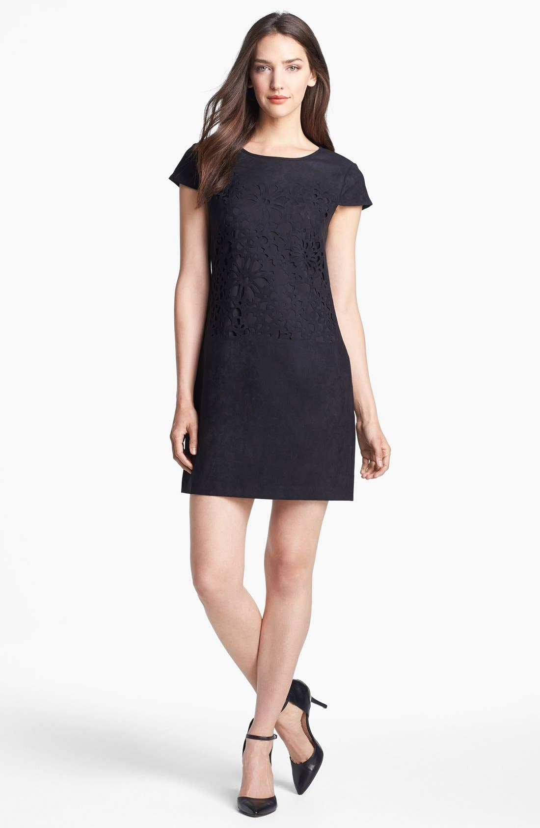 Main Image - Jessica Simpson Laser Cut Faux Suede Shift Dress (Online Only)