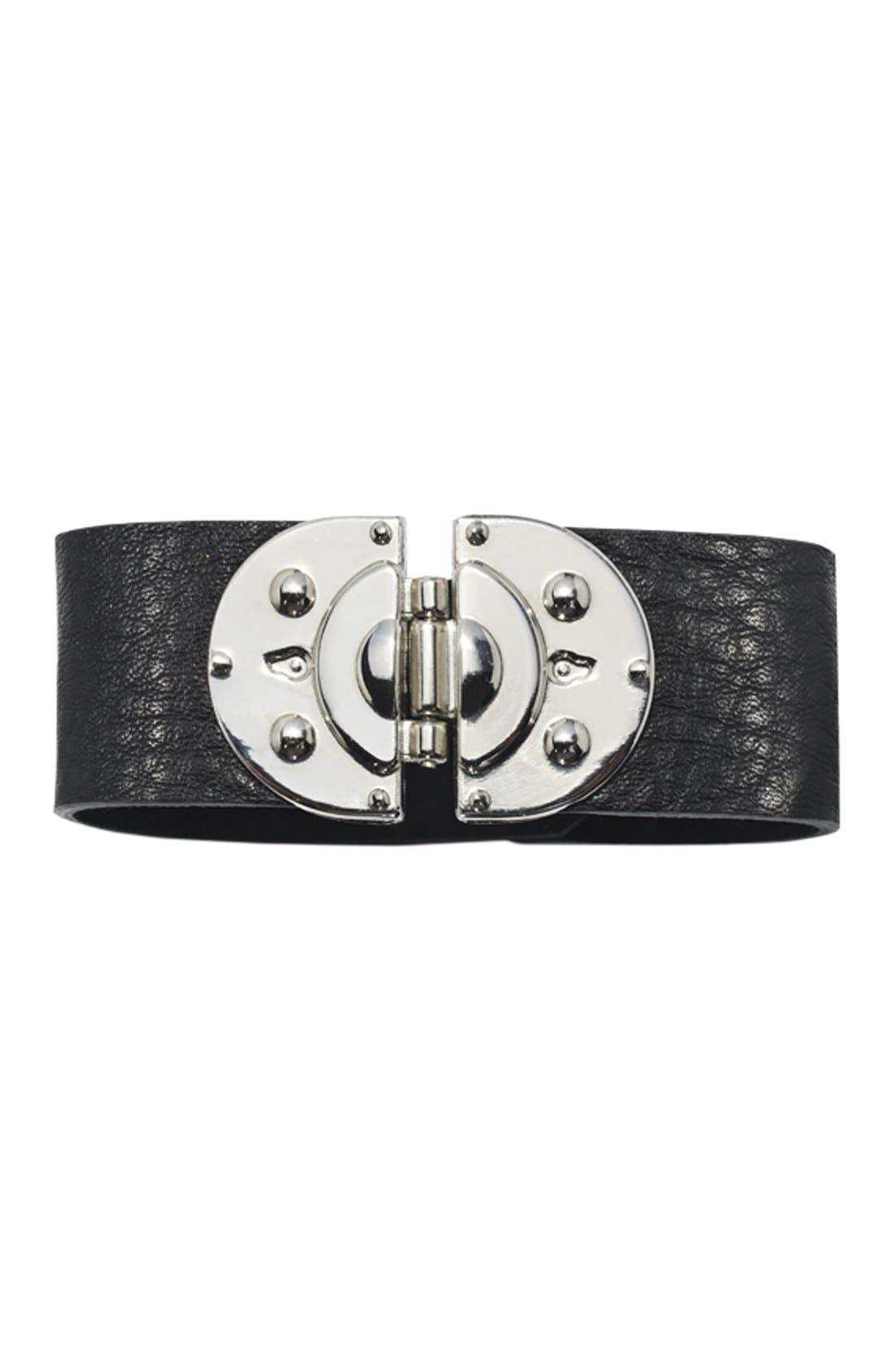 Alternate Image 2  - Cara Hinged Leather Bracelet