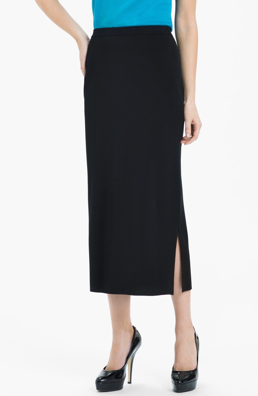 Side Slit Knit Midi Skirt,                             Main thumbnail 1, color,                             Black