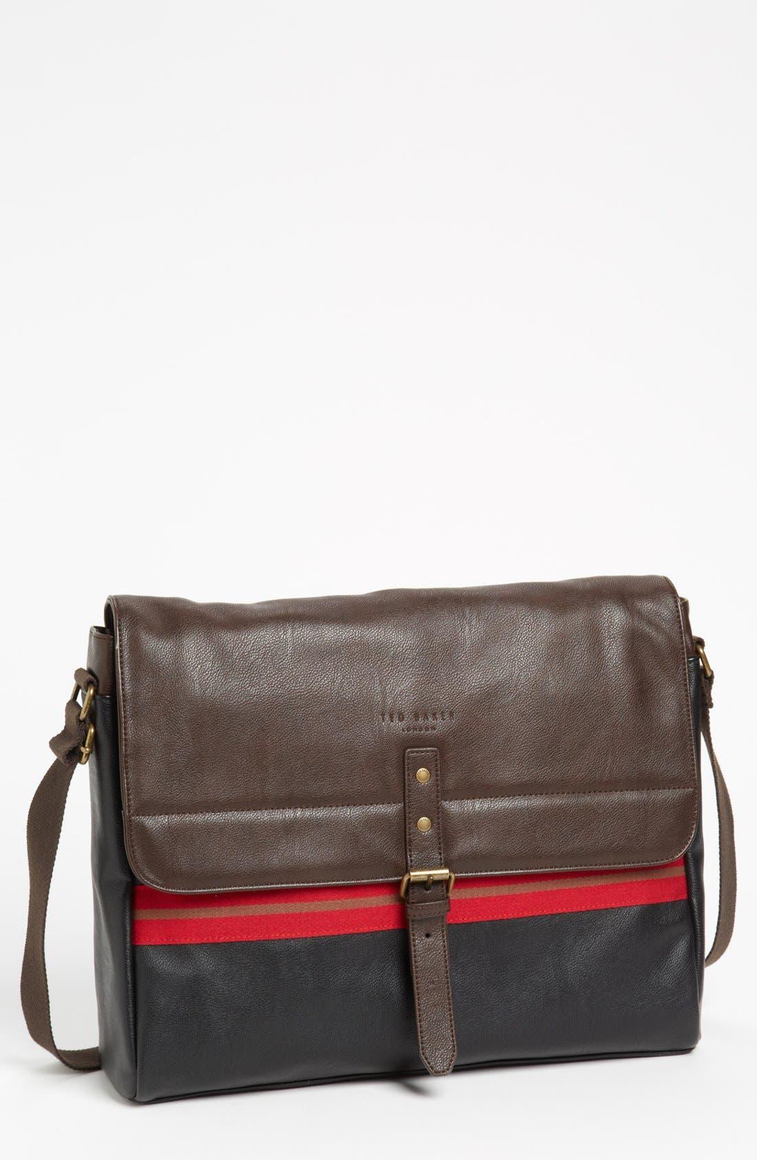 Alternate Image 1 Selected - Ted Baker London 'Stripe Webbing' Faux Leather Messenger Bag