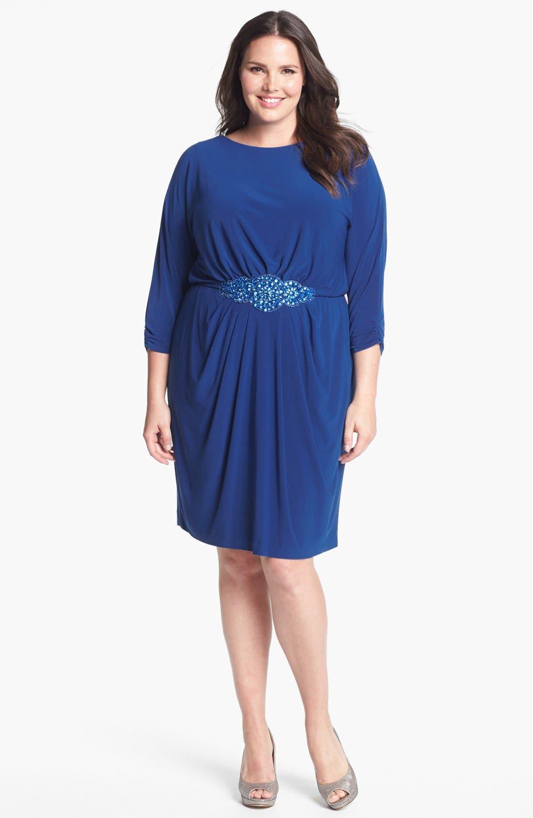 Alternate Image 1 Selected - Alex Evenings Beaded Waist Jersey Blouson Dress (Plus Size)