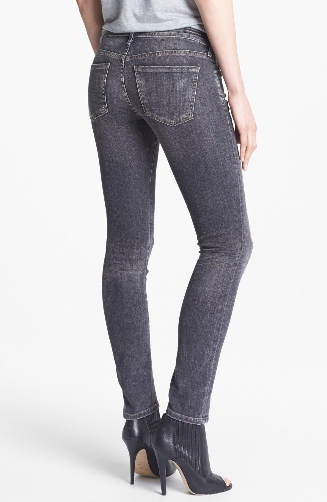 'Racer' Low Rise Skinny Jeans,                             Alternate thumbnail 2, color,                             Black Slash