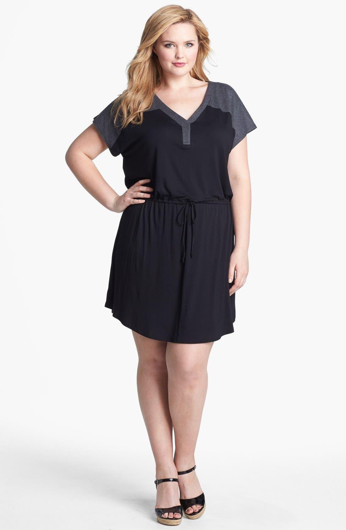 Alternate Image 1 Selected - Olivia Moon Contrast Yoke Drawstring Dress (Plus Size)