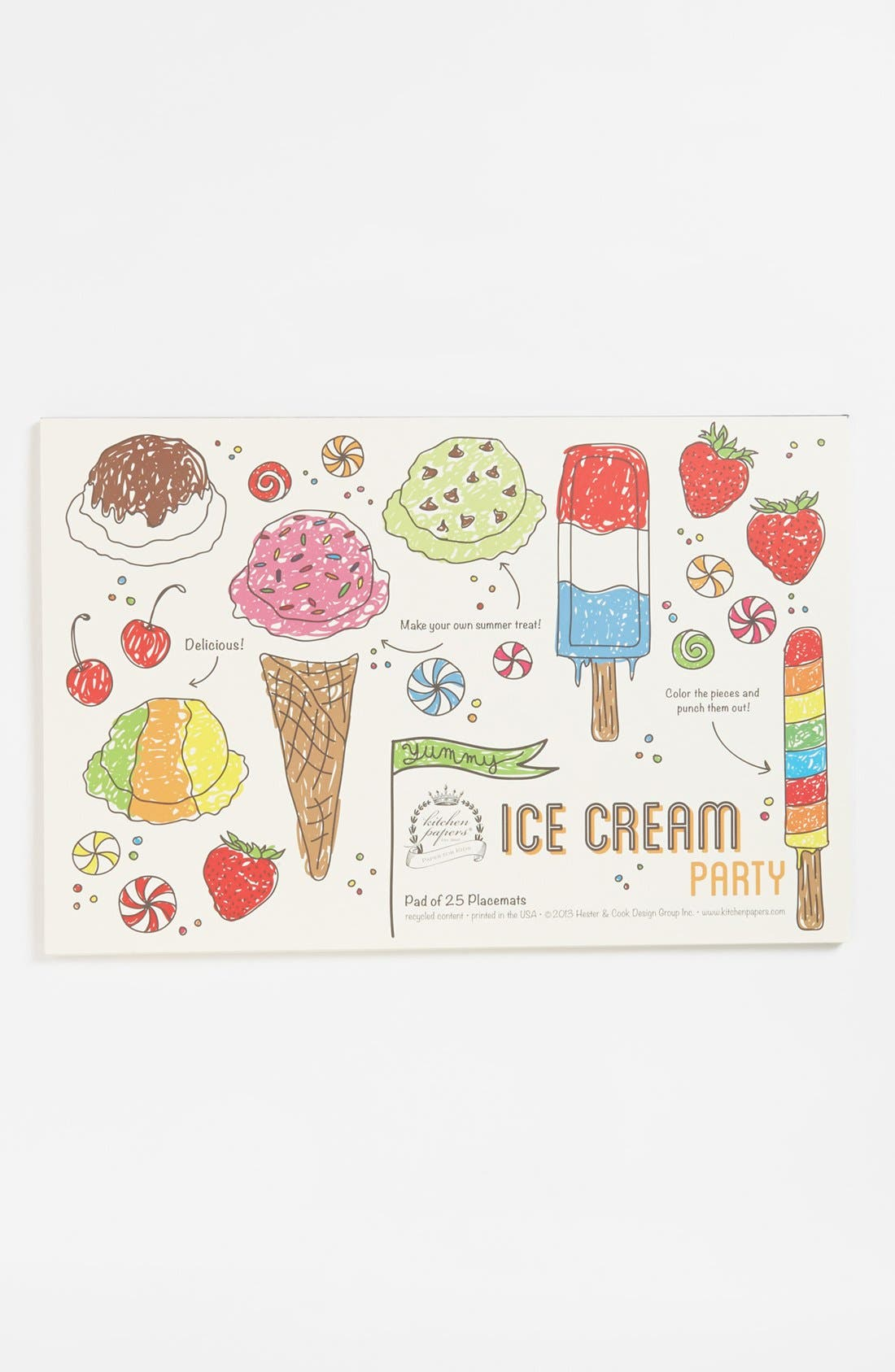Alternate Image 1 Selected - Kitchen Papers by Cake 'Ice Cream Party' Kids Paper Placemat Pad