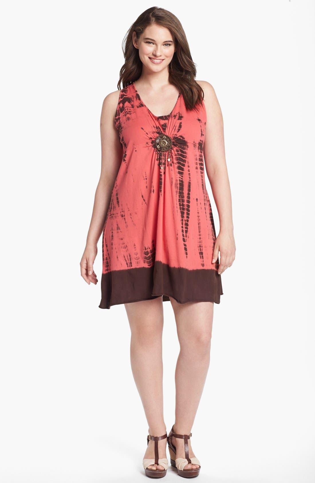 Alternate Image 1 Selected - Pink Lotus Embellished Tie Dye Dress (Plus Size)
