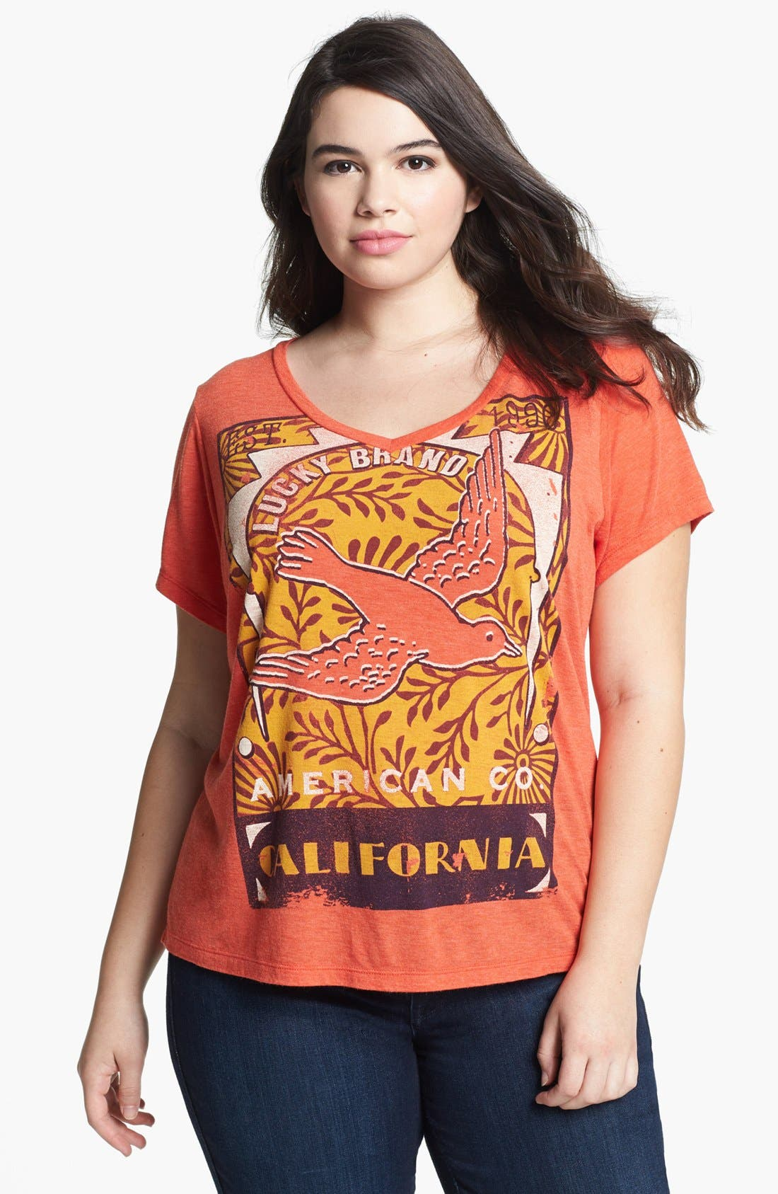 Alternate Image 1 Selected - Lucky Brand 'Bird Matchbook' Tee (Plus)