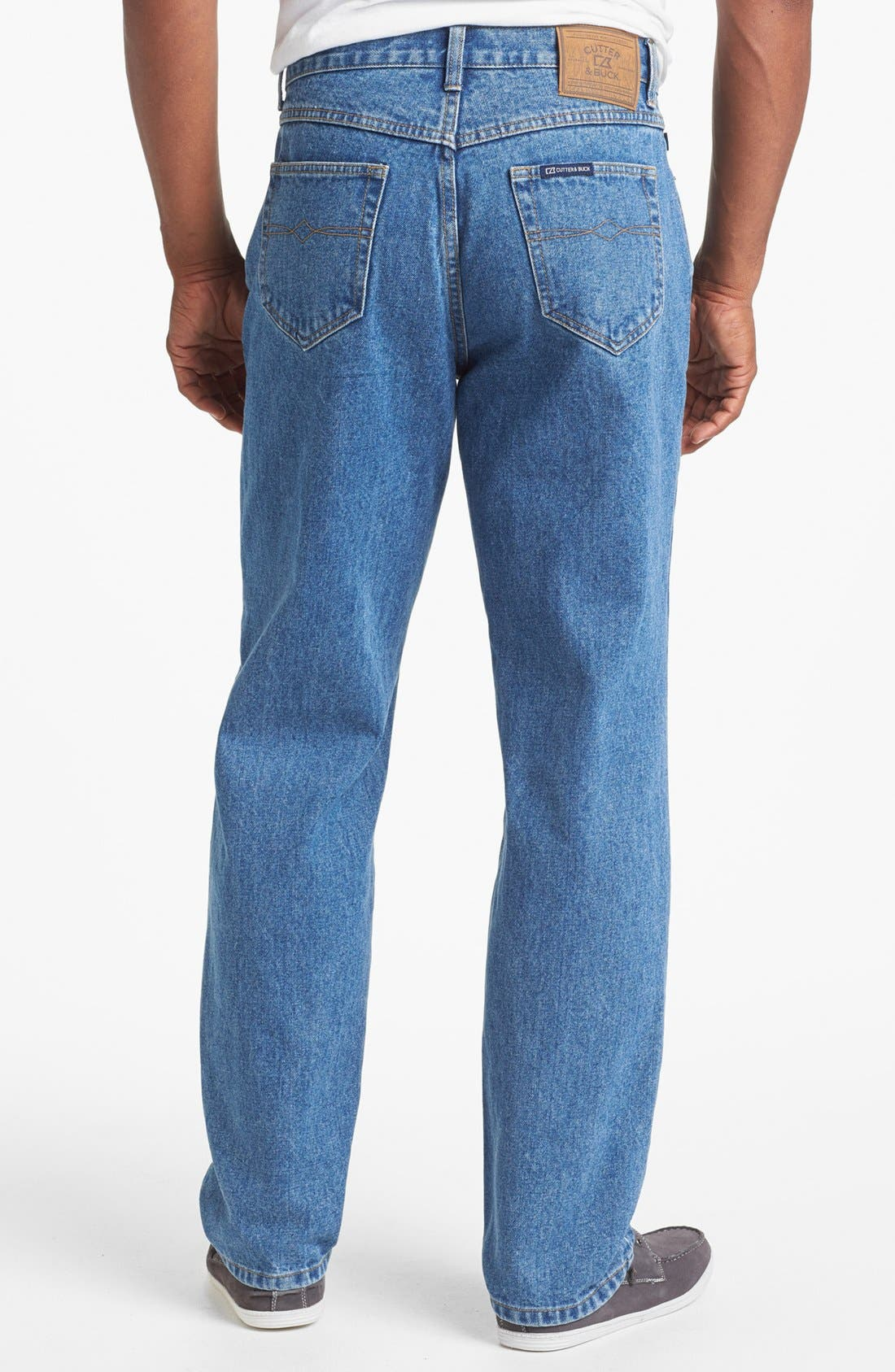 Alternate Image 2  - Cutter & Buck Classic Five Pocket Straight Leg Jeans (Denim Wash)