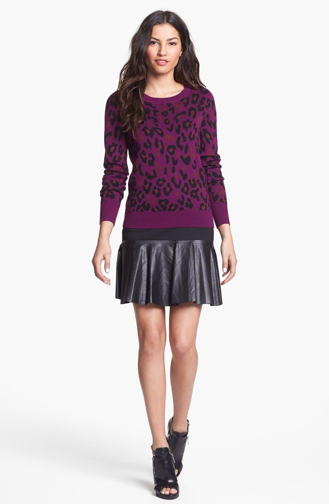 Alternate Image 1 Selected - Halogen® Faux Leather & Ponte Flared Skirt