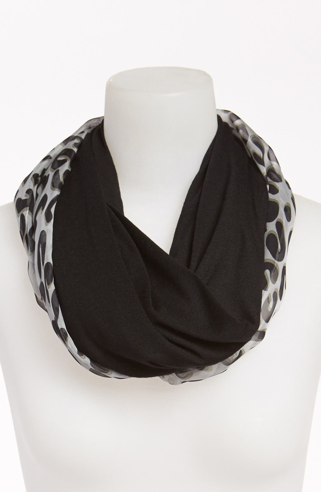 Alternate Image 2  - Tarnish Animal Print/Solid Reversible Infinity Scarf