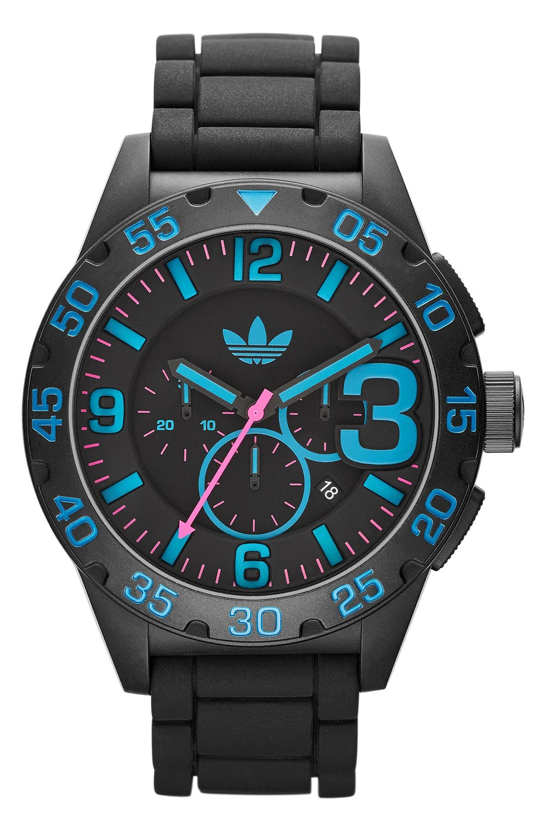 Main Image - adidas Originals 'Newburgh' Chronograph Silicone Strap Watch, 48mm