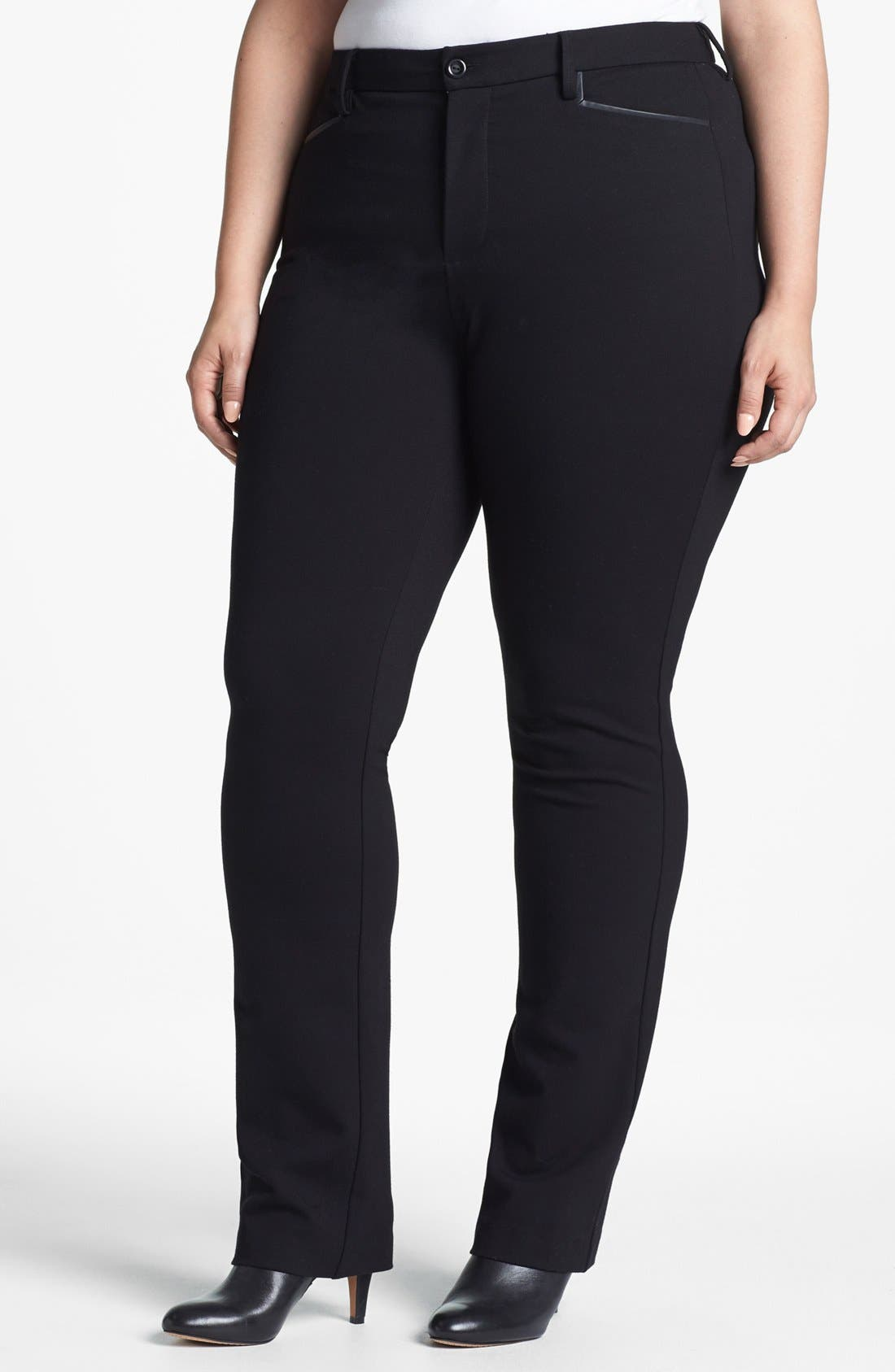 Main Image - NYDJ Faux Leather Trim Stretch Ponte Pants (Plus Size)
