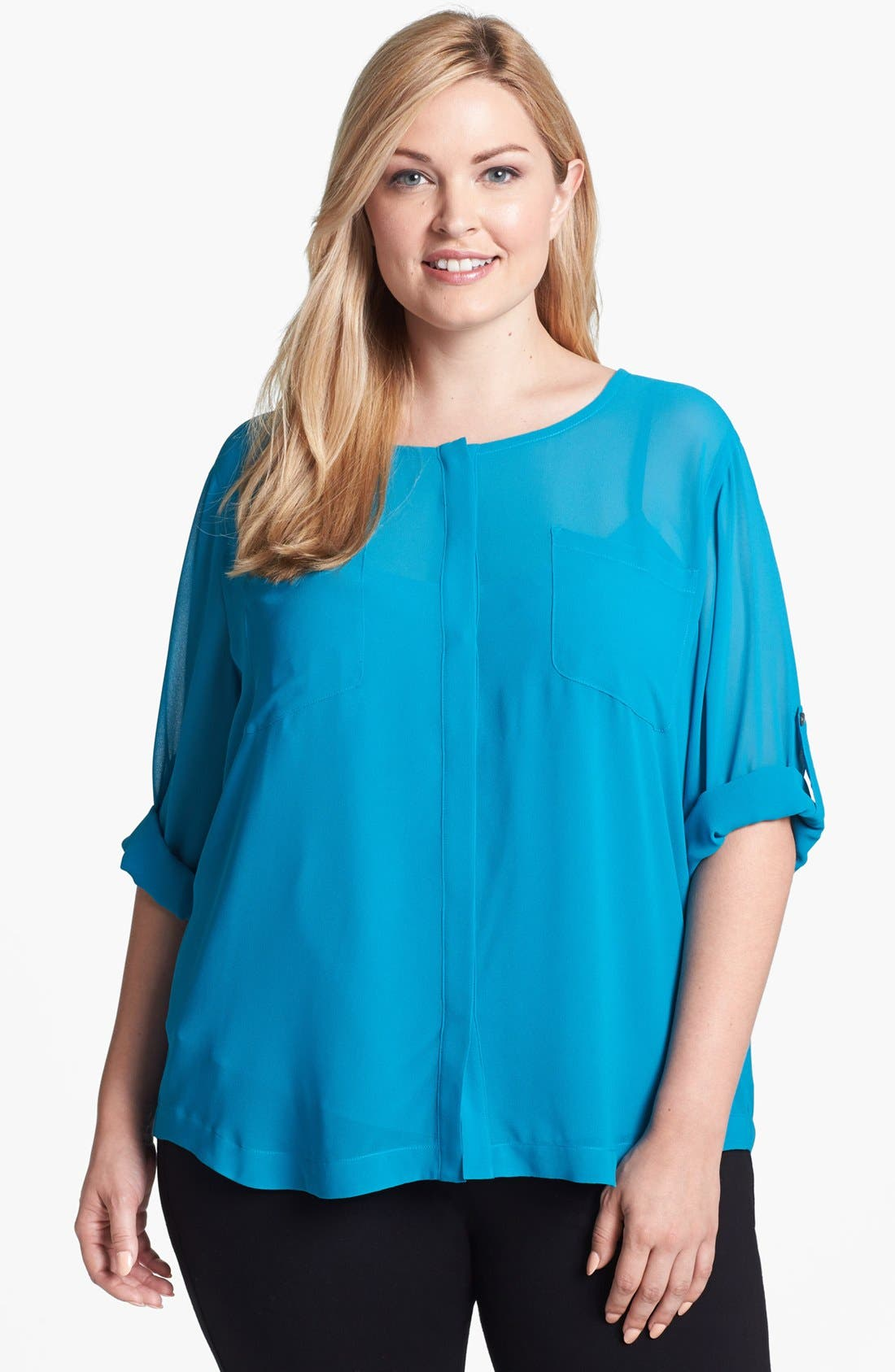 Alternate Image 1 Selected - DKNYC Roll Sleeve Blouse (Plus Size)