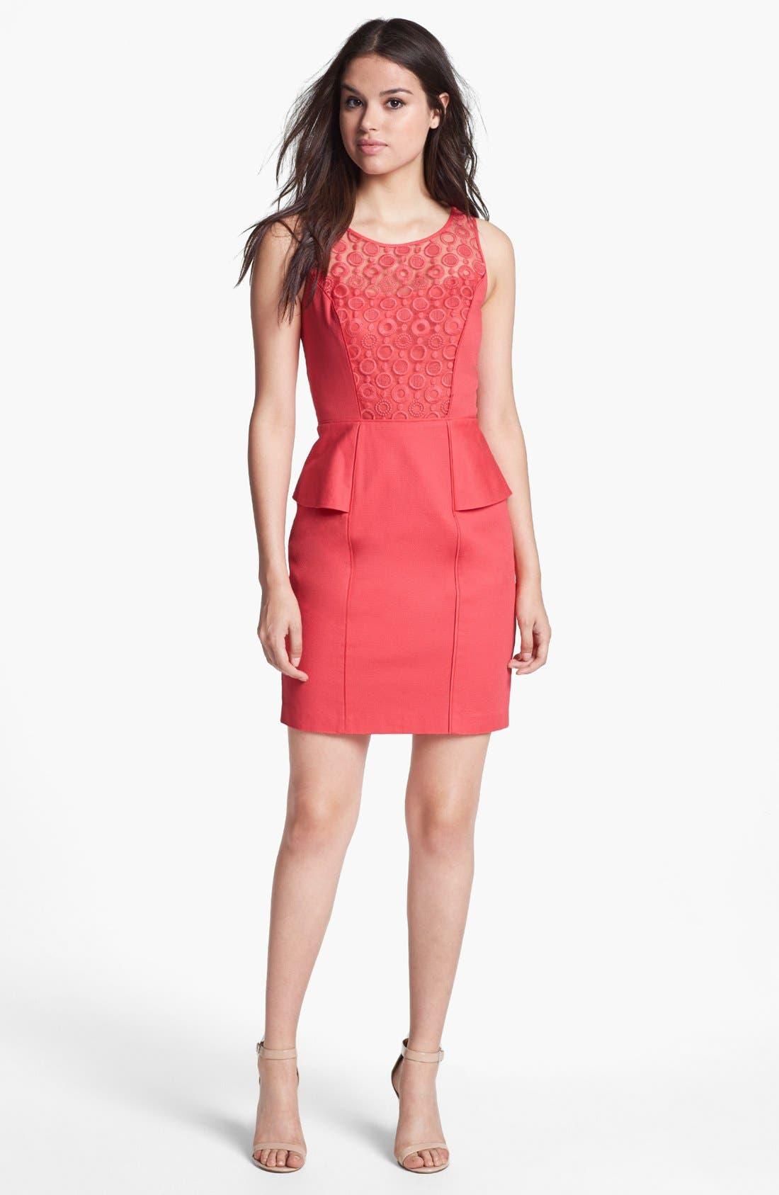 Alternate Image 1 Selected - Jessica Simpson Lace Yoke Sleeveless Peplum Sheath Dress