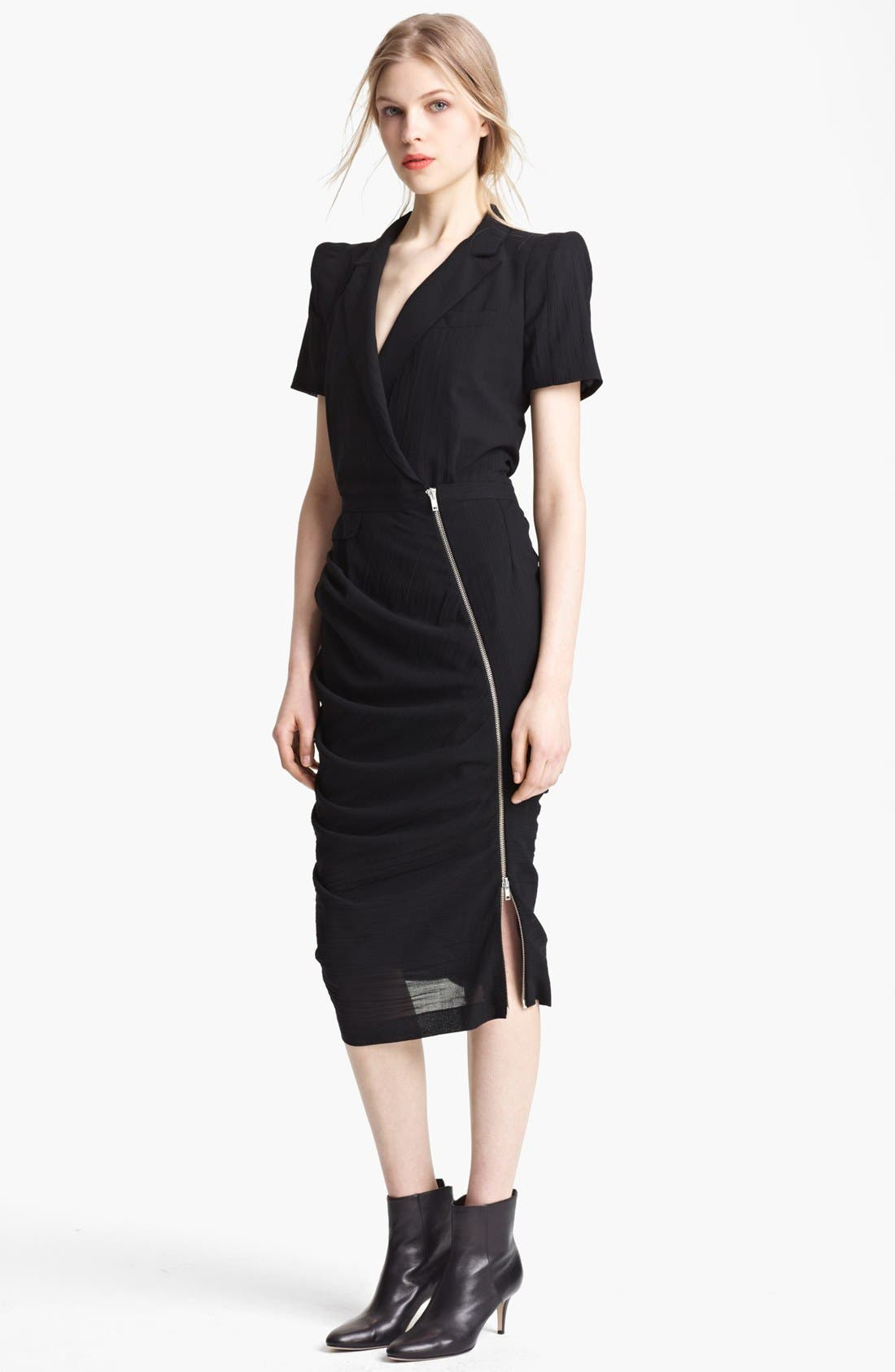 Main Image - Band of Outsiders Short Sleeve Ruched Wool Dress