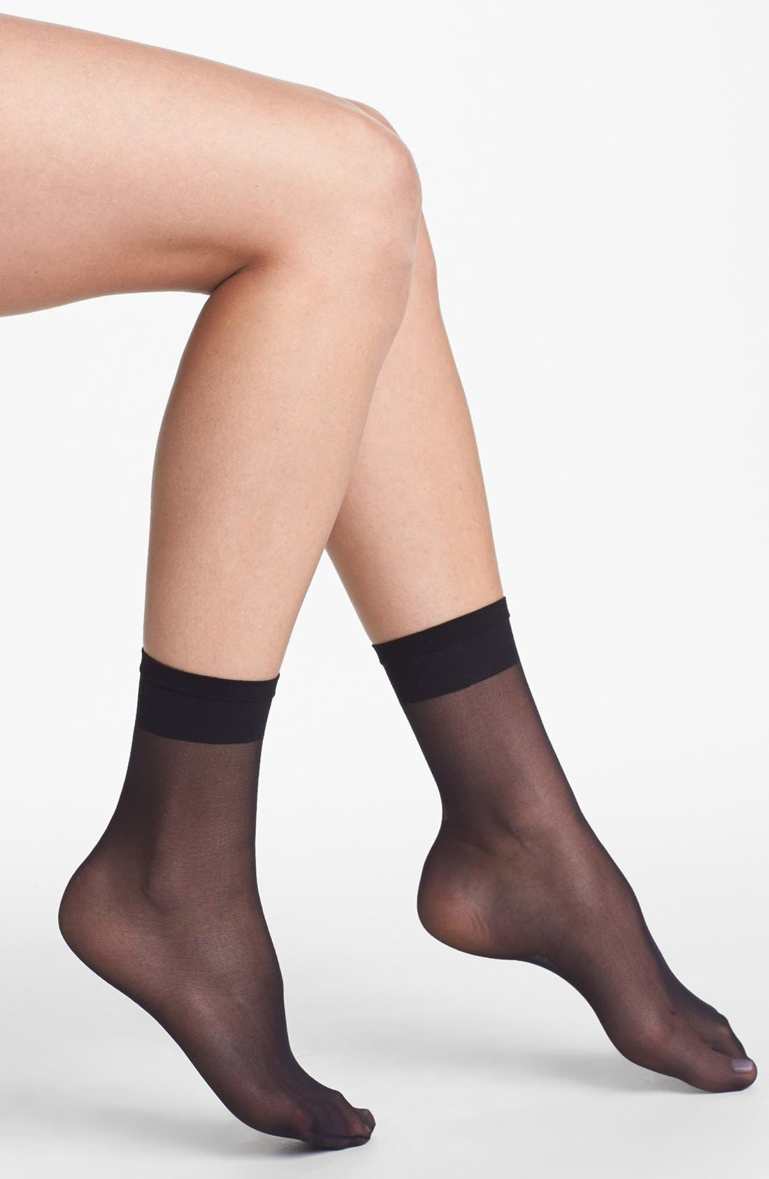 3-Pack Sheer Anklet,                         Main,                         color, Black