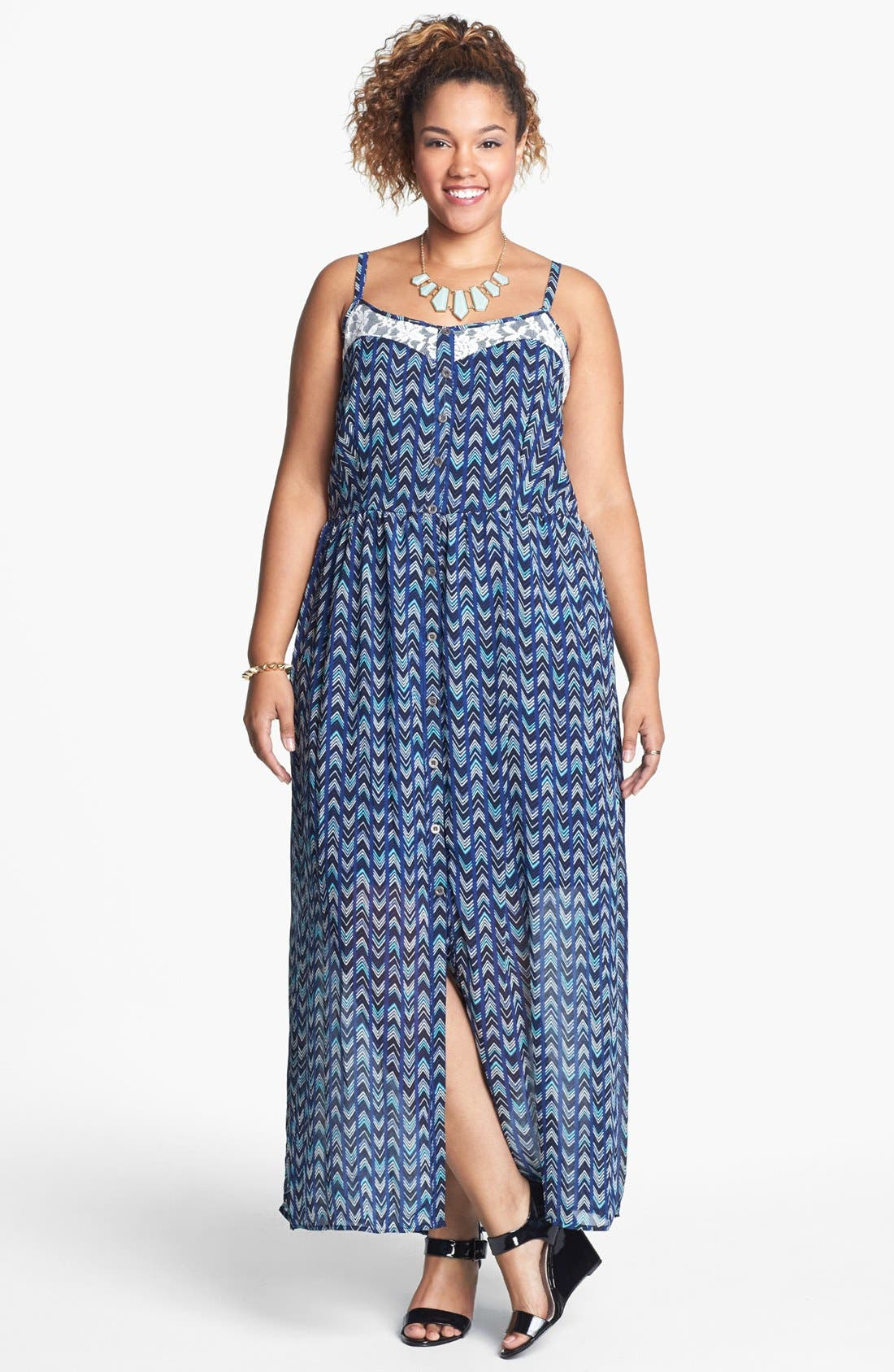 Alternate Image 1 Selected - Mimi Chica Lace Inset Maxi Dress (Juniors Plus)