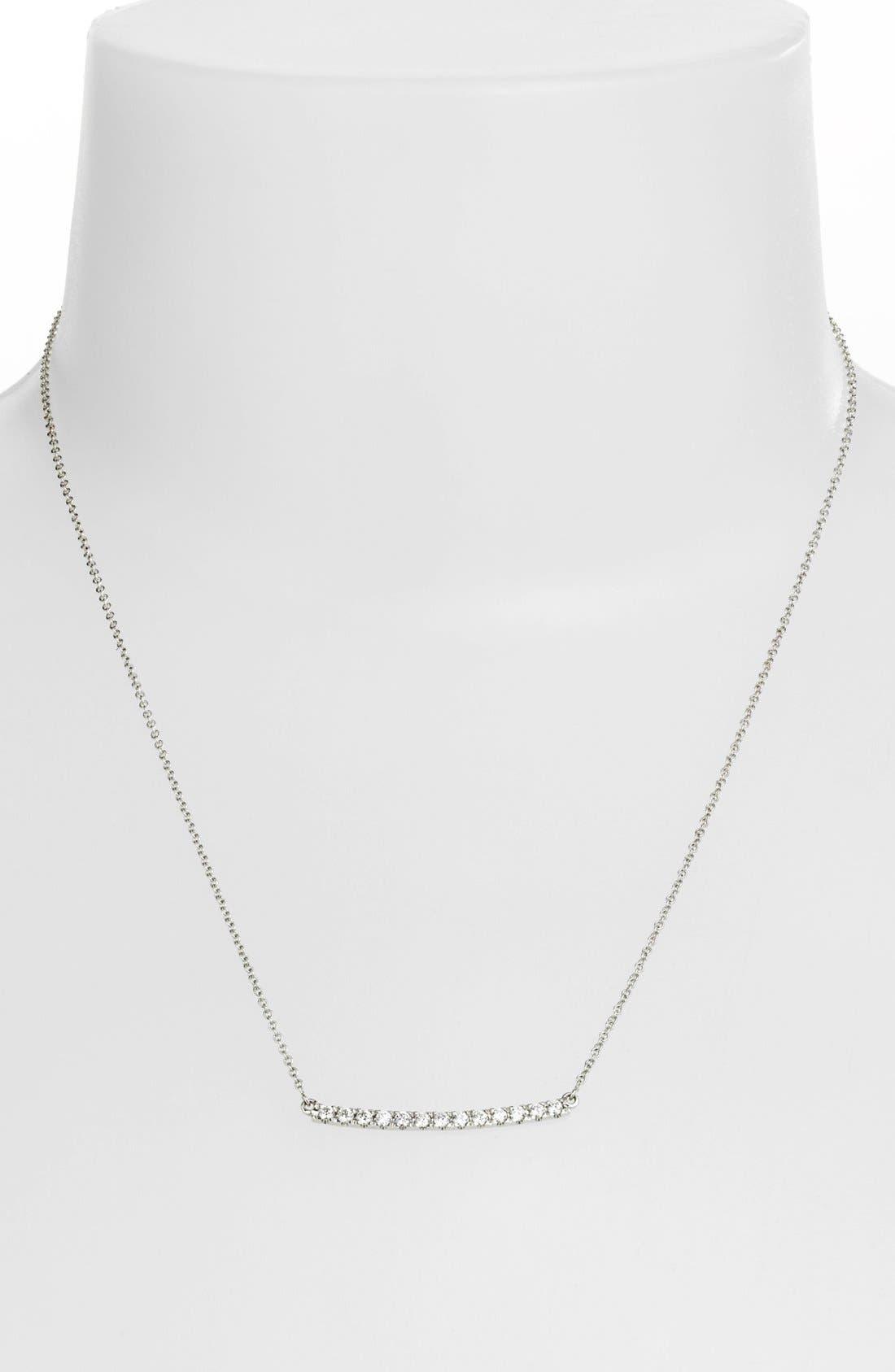 'Stick' Pavé Diamond Bar Necklace,                             Alternate thumbnail 2, color,                             White Gold