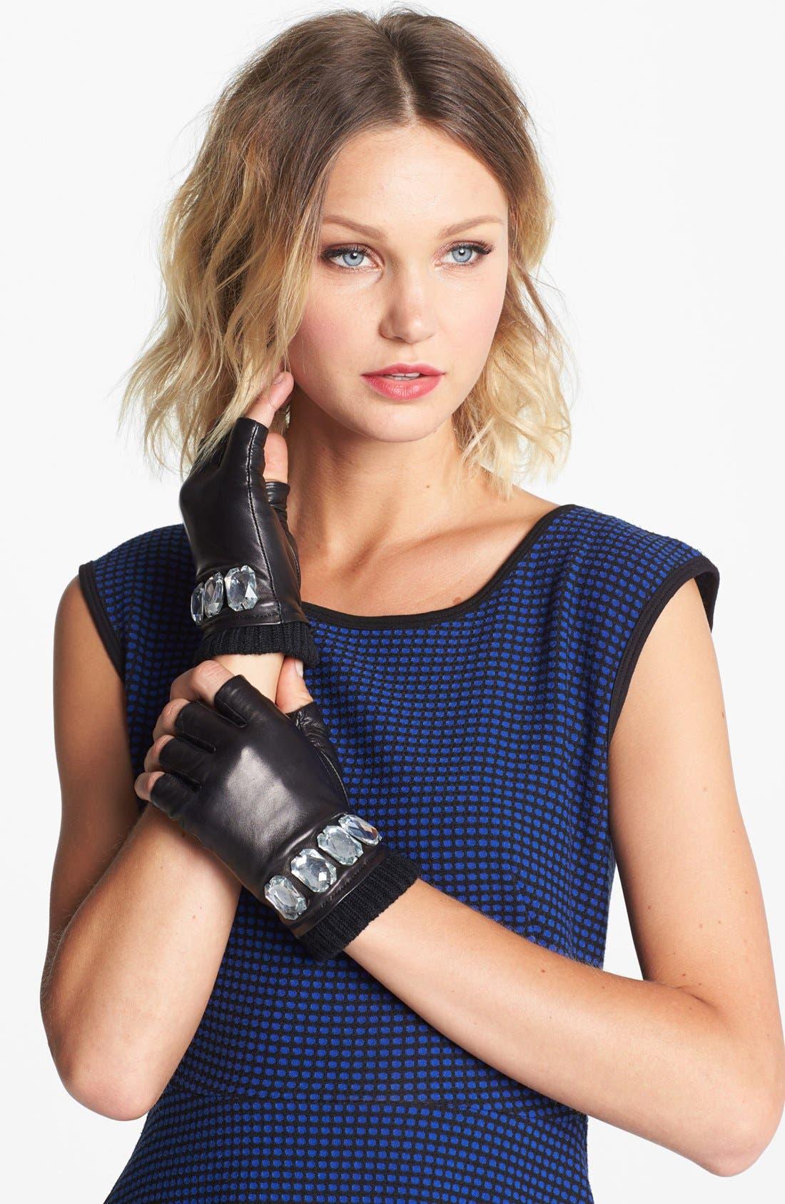 Alternate Image 1 Selected - MICHAEL Michael Kors Fingerless Leather Gloves