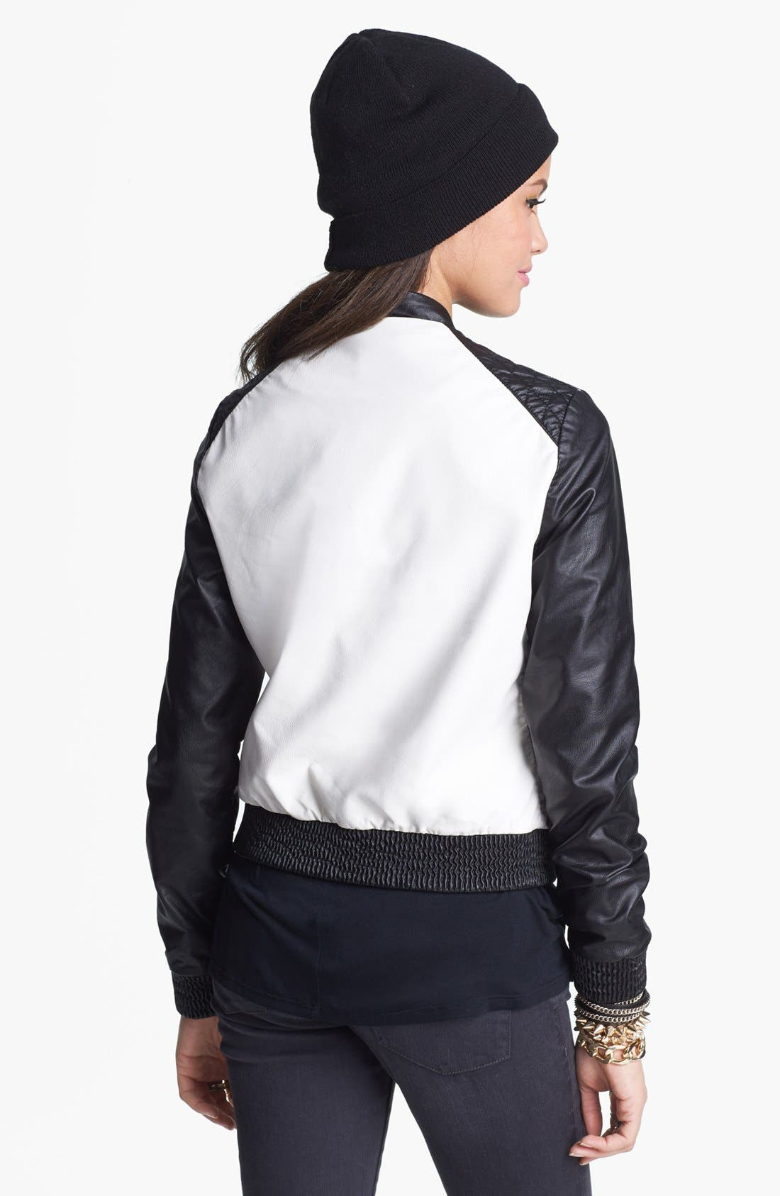 Alternate Image 2  - Jolt Faux Leather Colorblock Jacket (Juniors)