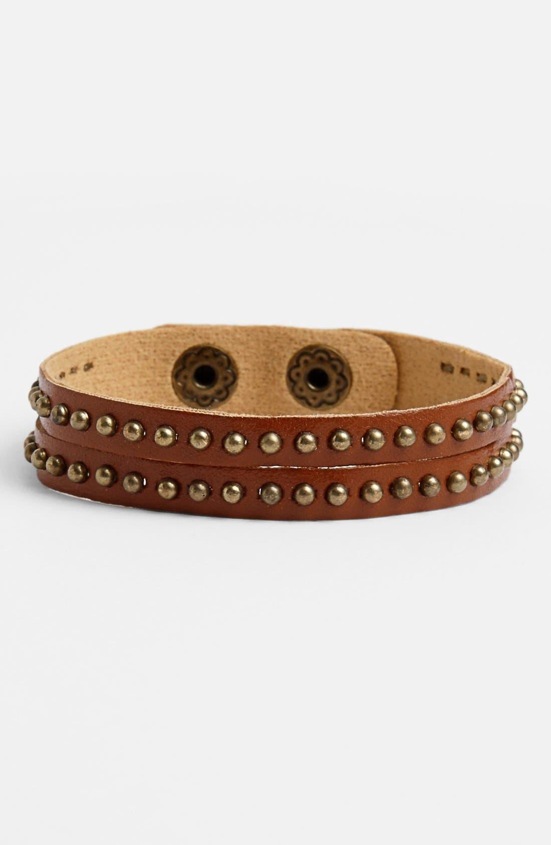 Main Image - Carole Studded Double Strand Leather Bracelet