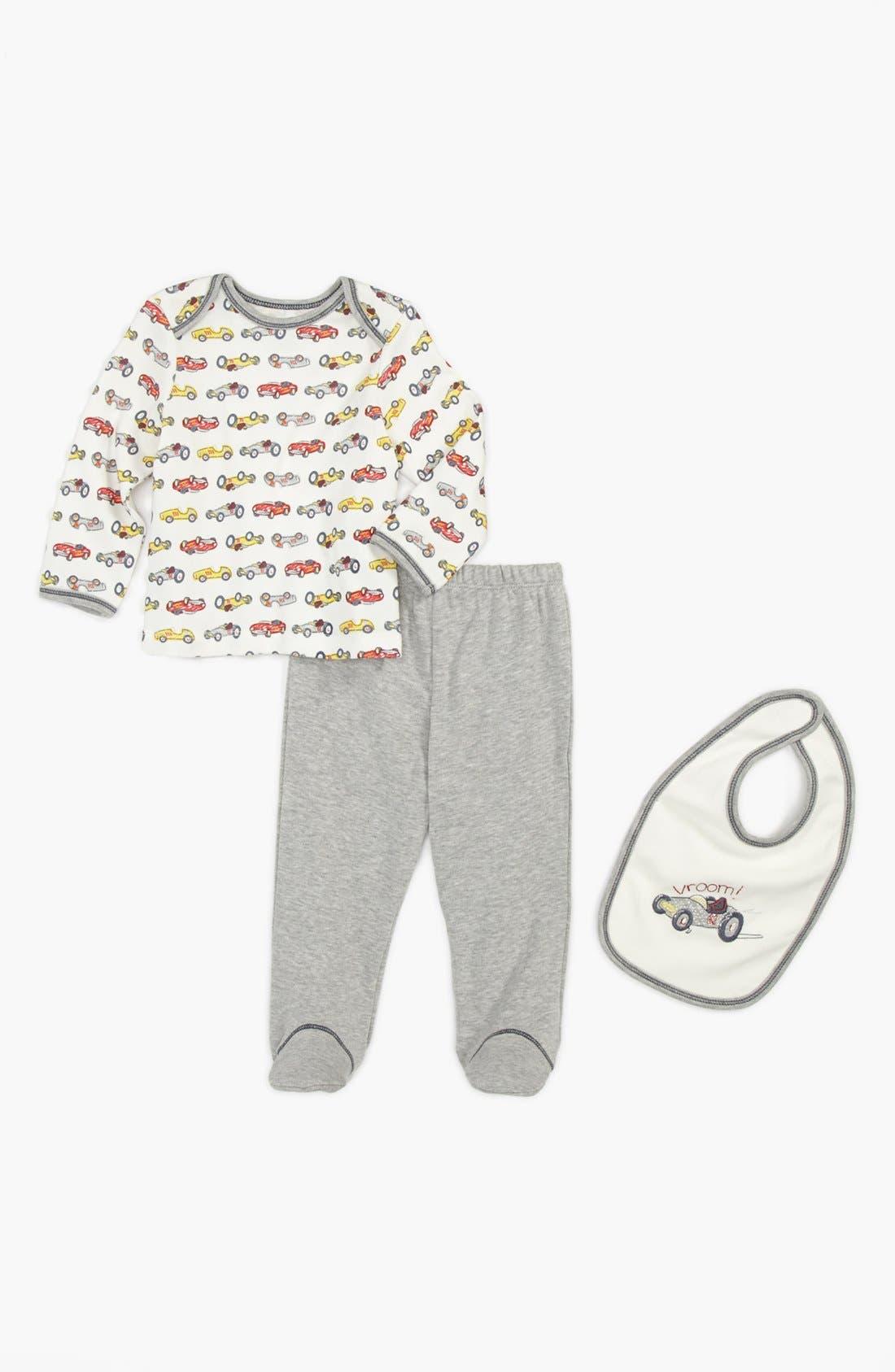 Alternate Image 1 Selected - Little Me T-Shirt, Footie Pants & Bib (Baby Boys)