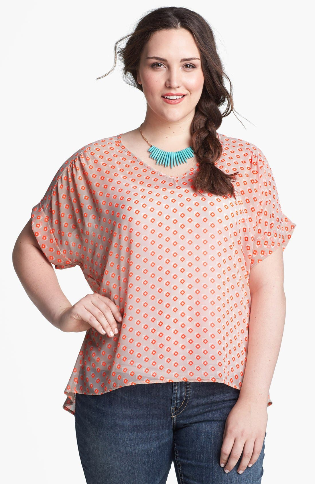 Main Image - Painted Threads Print Lace Back Top (Juniors Plus)