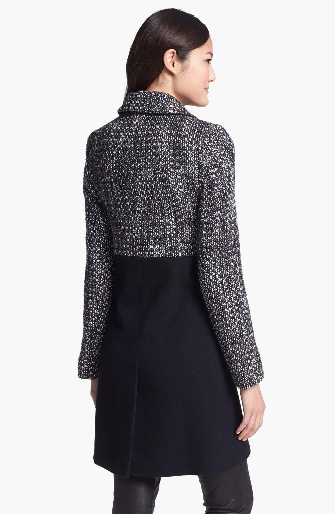 Alternate Image 2  - Fleurette Thistle Tweed & Loro Piana Wool City Coat (Petite)