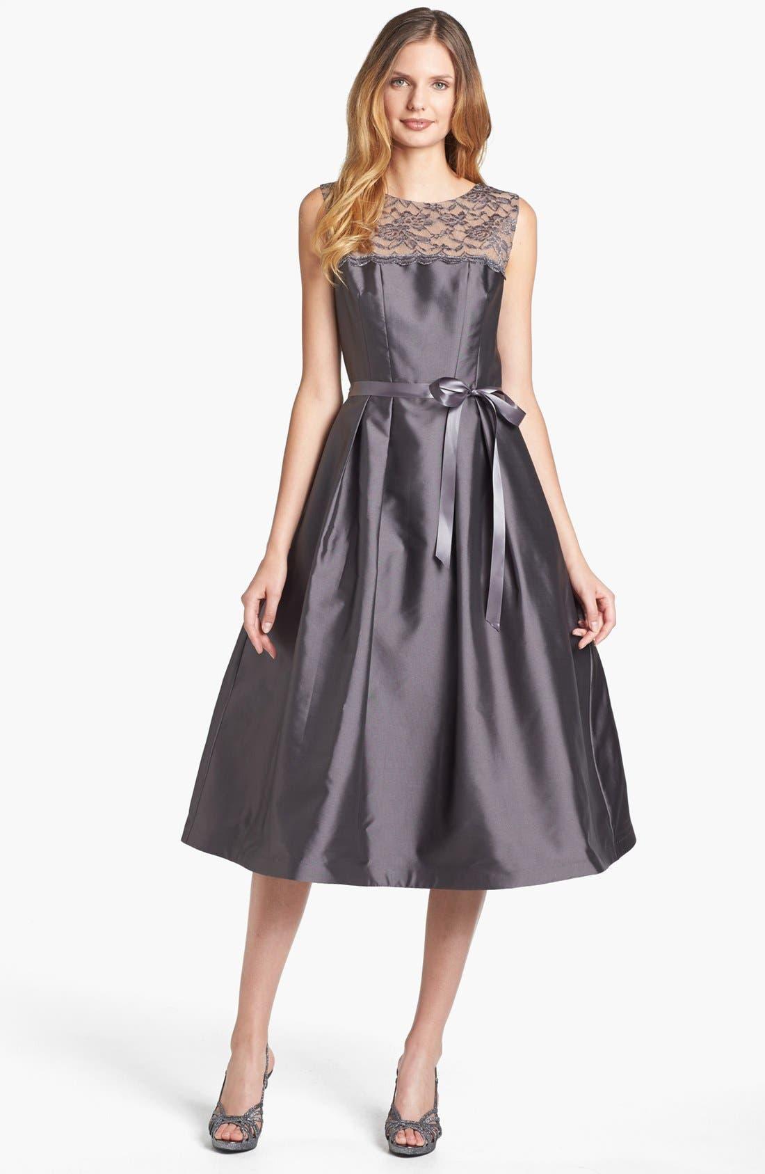 Illusion Yoke Satin Fit & Flare Dress,                         Main,                         color, Charcoal