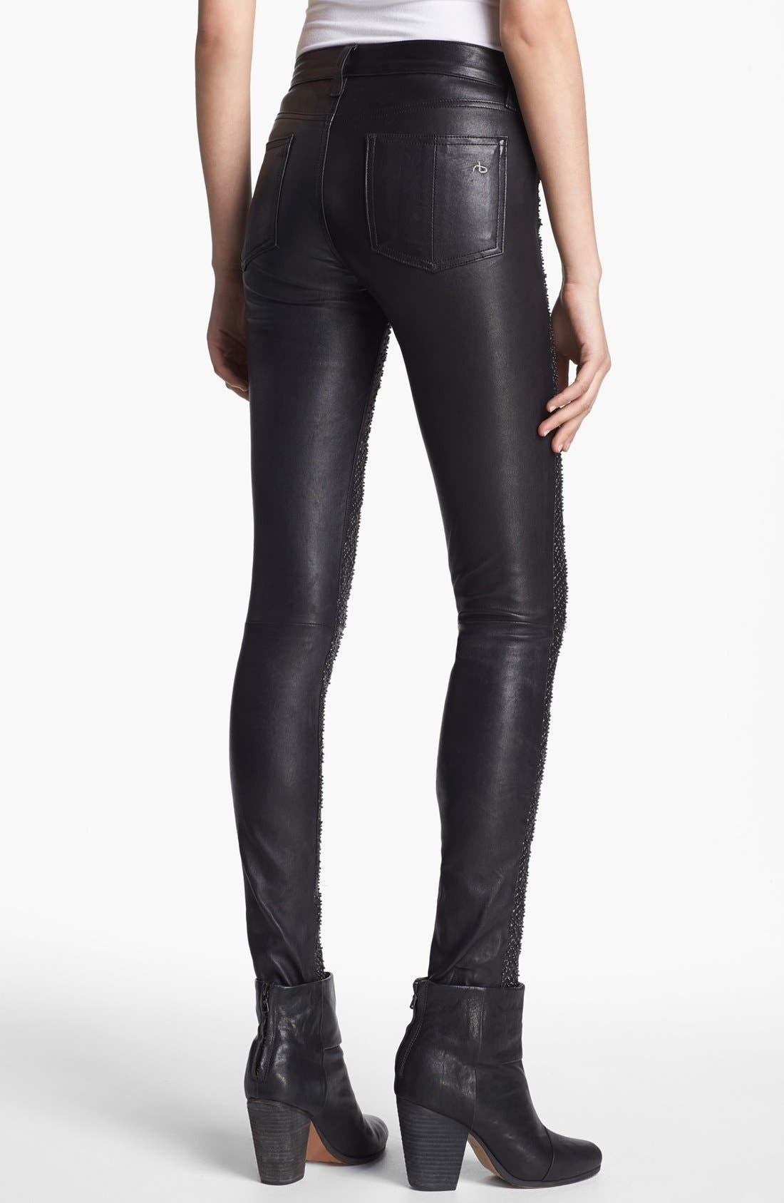 Embellished Leather Pants,                             Alternate thumbnail 2, color,                             Beaded Leather