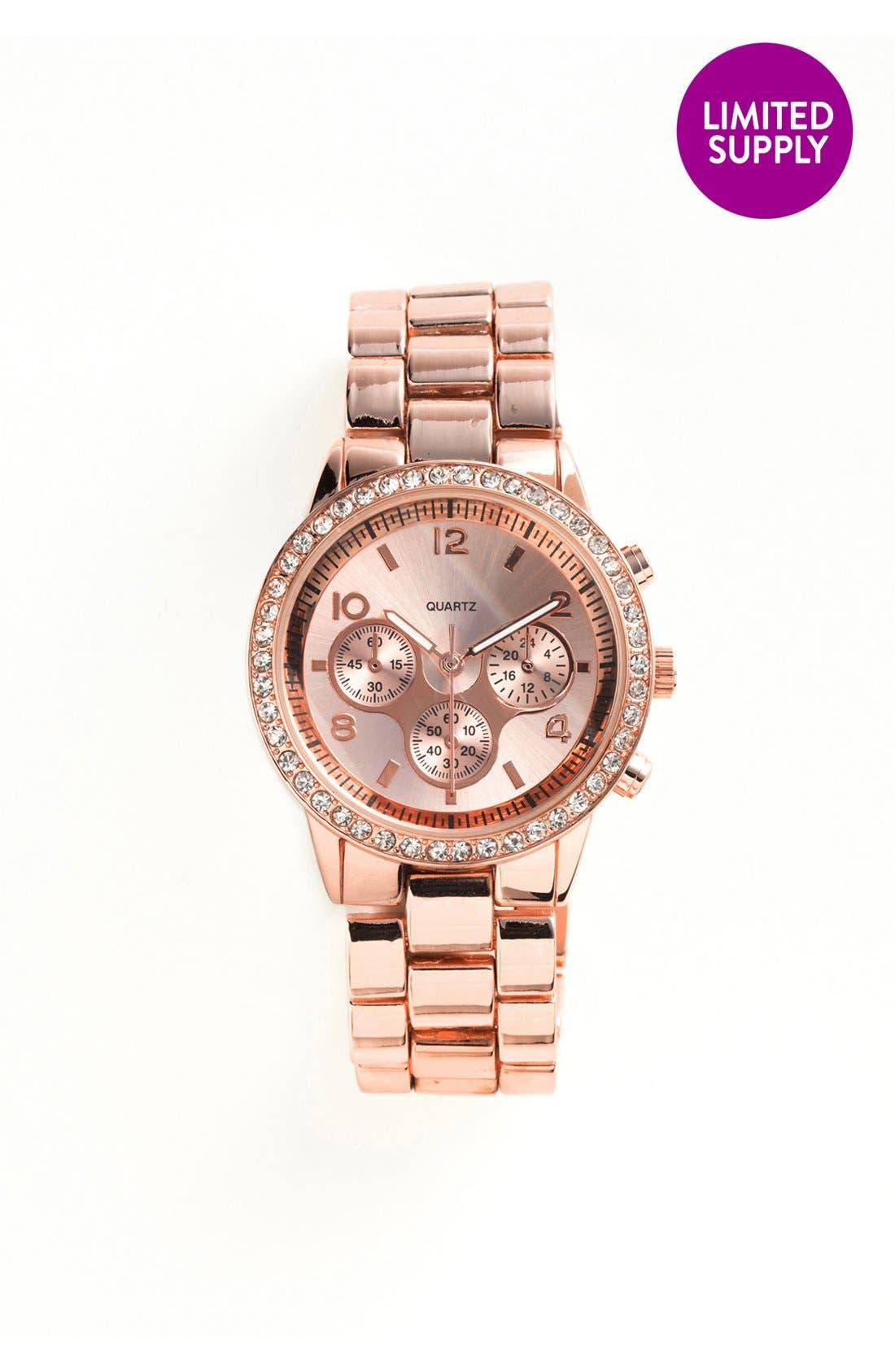 Alternate Image 2  - Titanium Rhinestone Bracelet Watch, 45mm (Online Only)