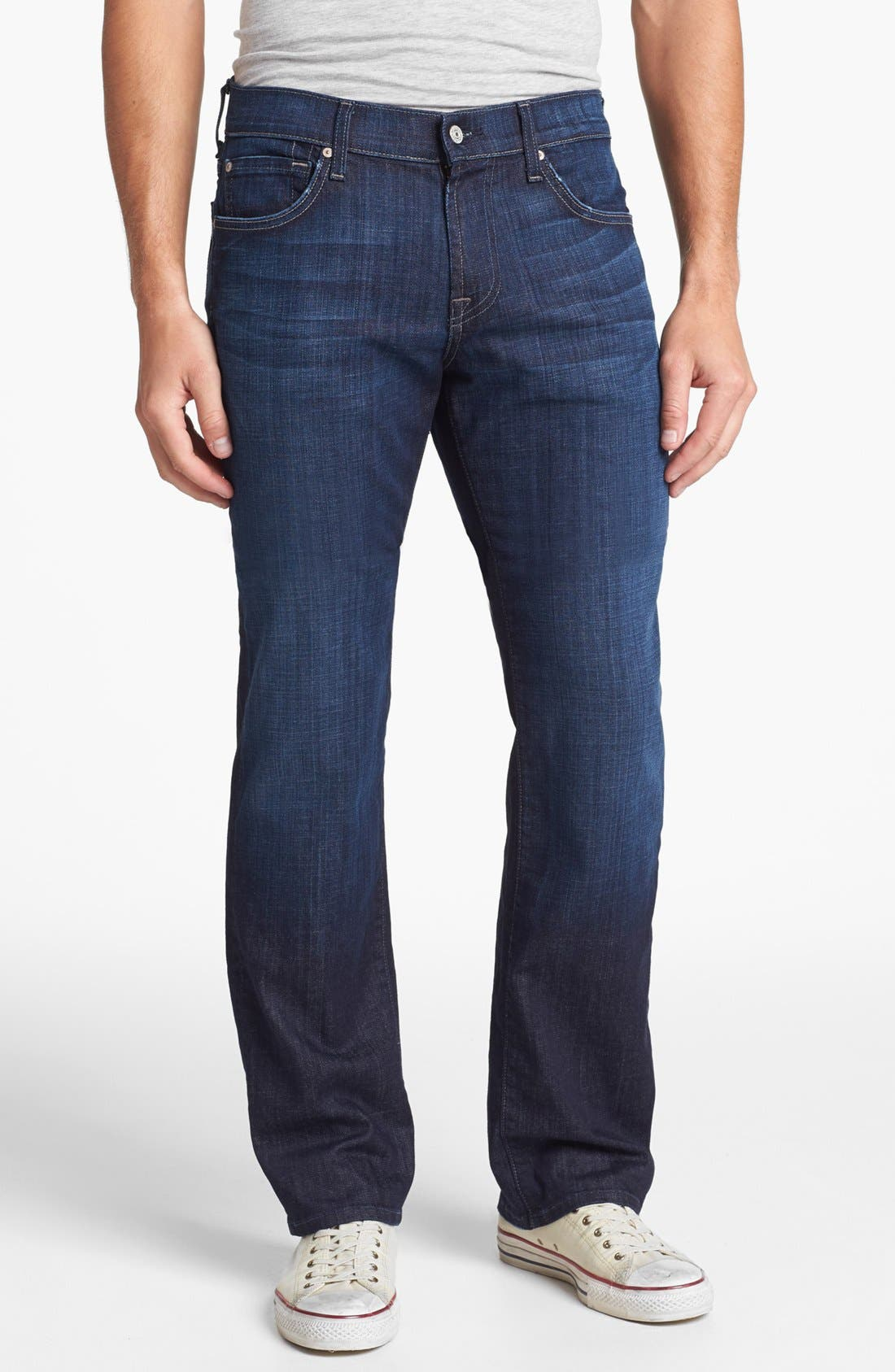 Main Image - 7 For All Mankind® 'Austyn' Relaxed Straight Leg Jeans (Los Angeles Dark)