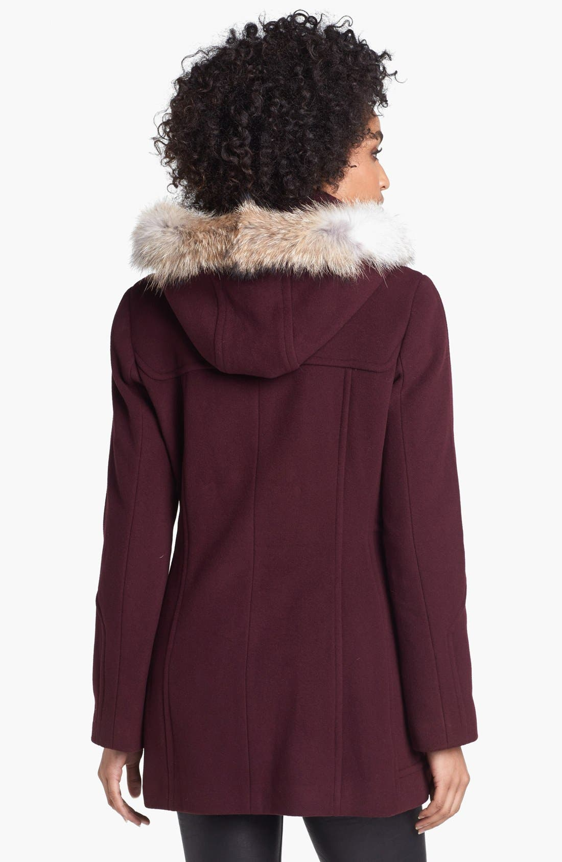 Alternate Image 2  - Marc New York by Andrew Marc Duffle Coat with Genuine Coyote Fur Trim
