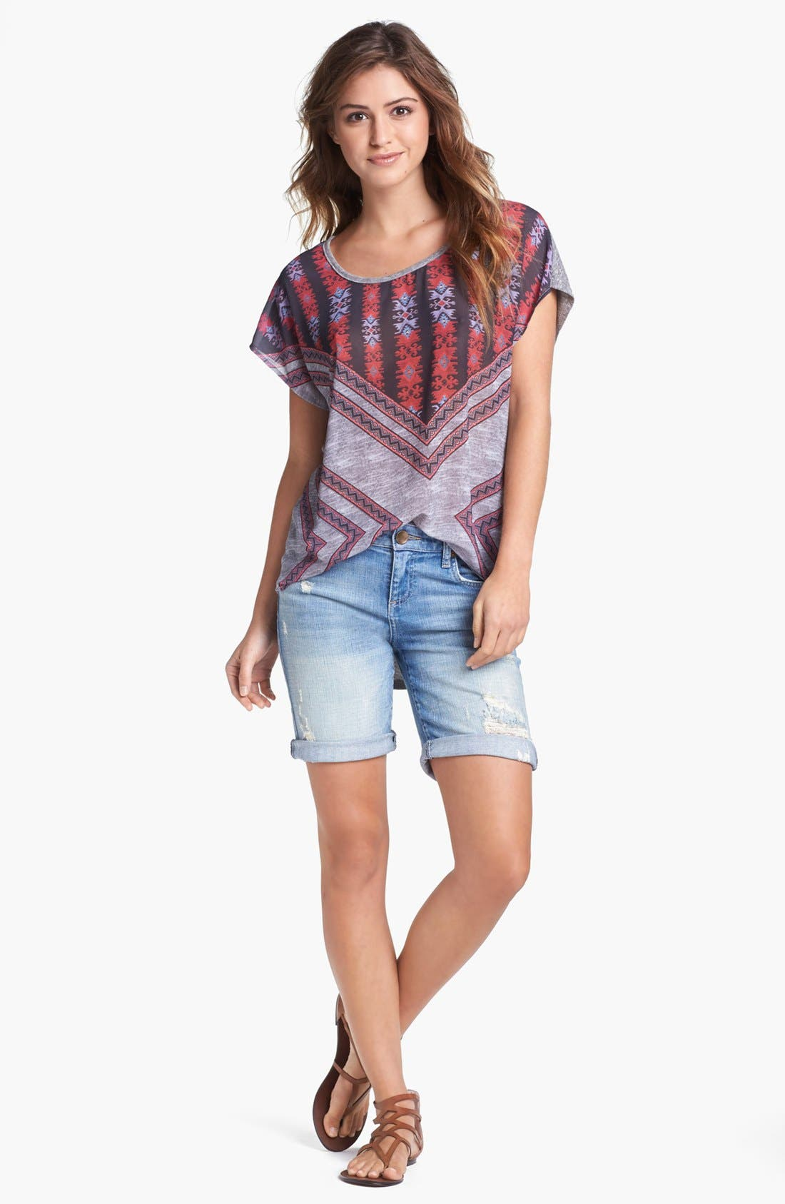 Alternate Image 1 Selected - Bobeau Tee & KUT from the Kloth Denim Shorts