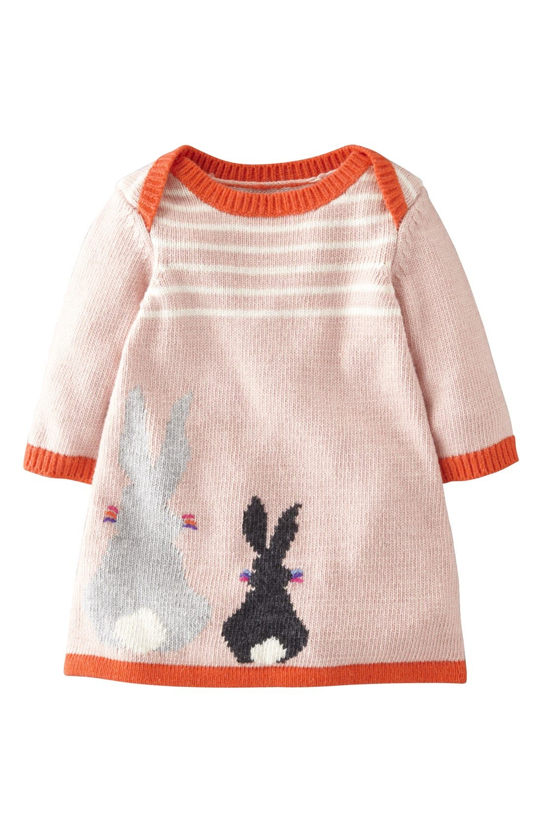 Main Image - Mini Boden 'My Baby' Intarsia Sweater Dress (Baby Girls)