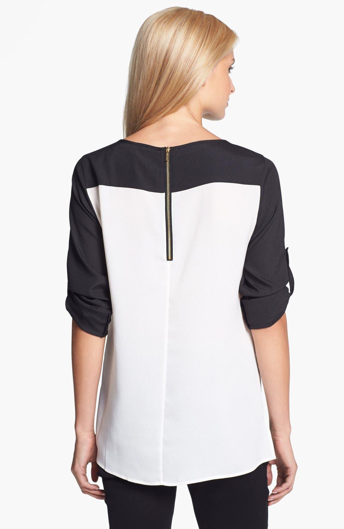Alternate Image 2  - Calvin Klein Zip Detail Colorblock Blouse