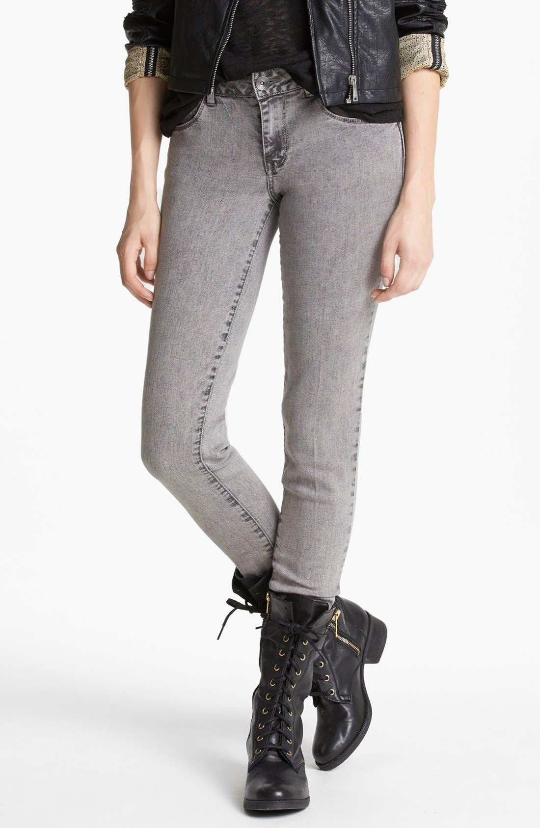 Main Image - Jolt Acid Wash Skinny Jeans (Grey) (Juniors)