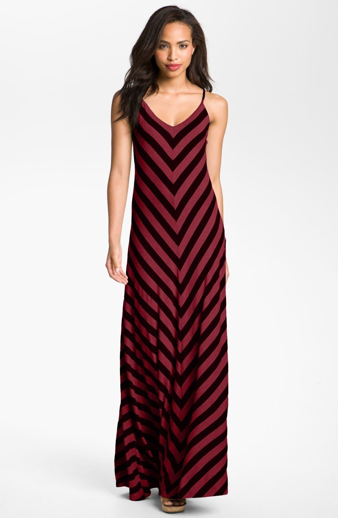 Alternate Image 1 Selected - Max & Mia Chevron Stripe Maxi Dress