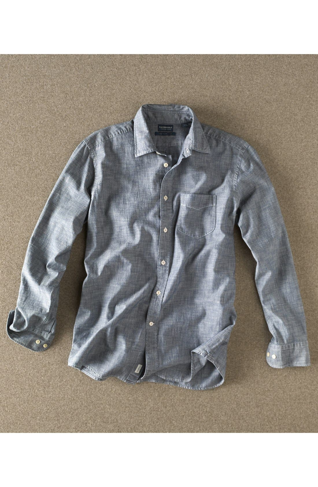 Alternate Image 4  - Façonnable Tailored Denim Regular Fit Chambray Sport Shirt