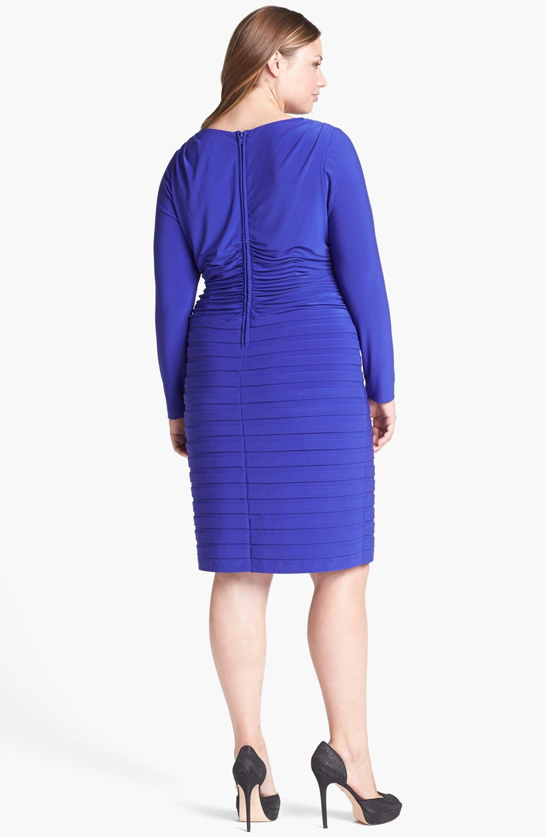 Alternate Image 2  - Adrianna Papell Shutter Pleat Jersey Dress (Plus Size)
