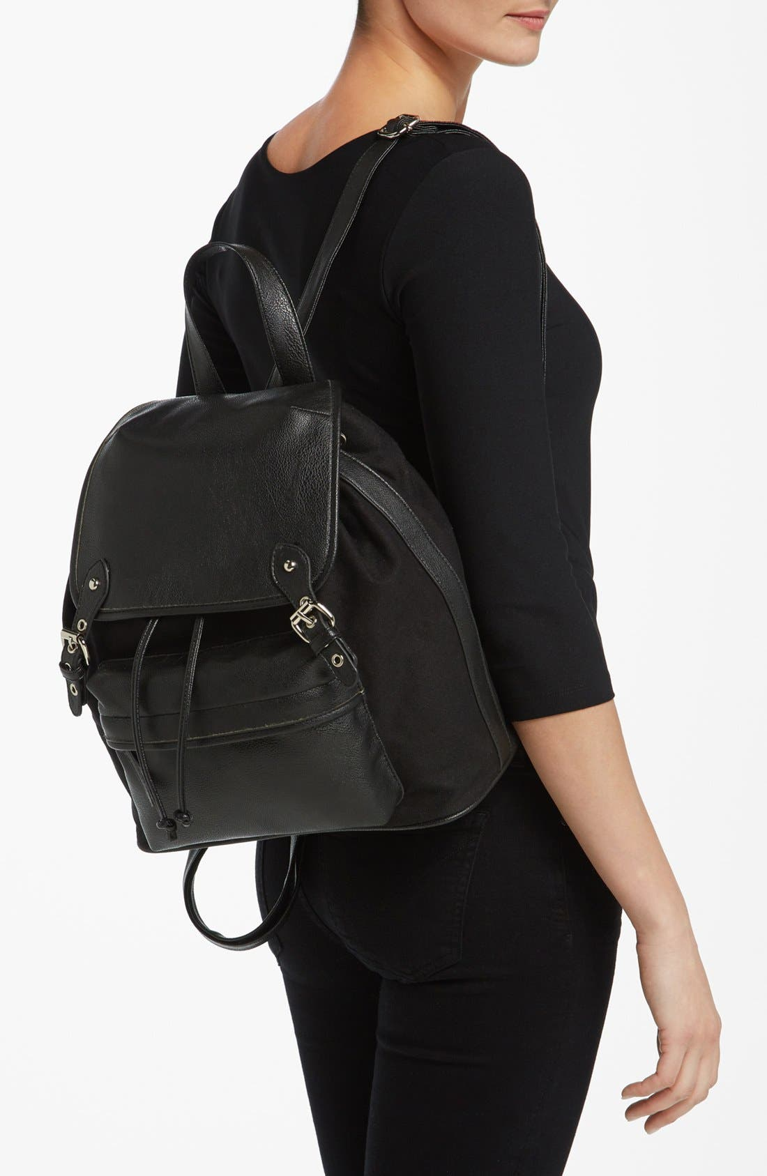 Alternate Image 2  - Collection B Faux Leather & Canvas Backpack (Juniors)