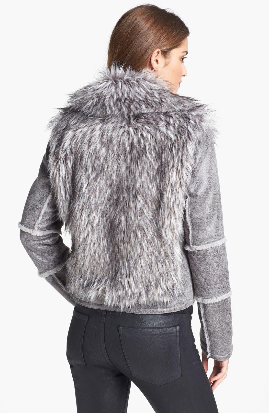 Alternate Image 2  - Kristen Blake Faux Shearling & Faux Fur Moto Jacket (Nordstrom Exclusive)