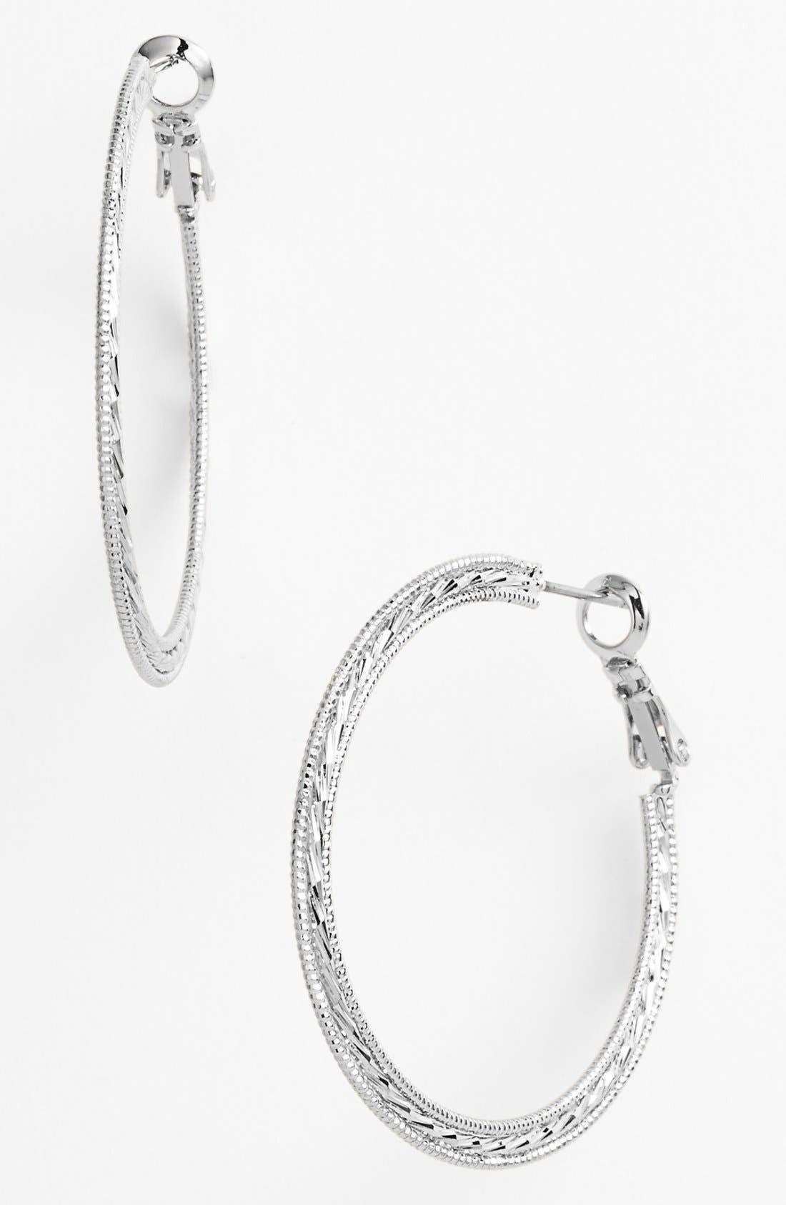 Main Image - Nordstrom Textured Hoop Earrings