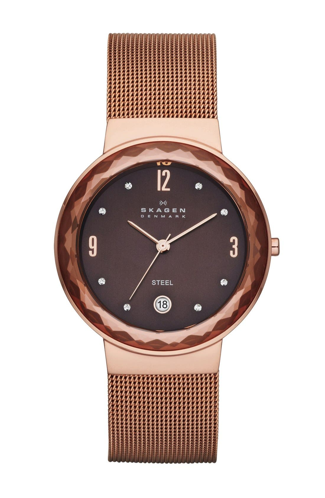 Main Image - Skagen 'Leonora' Faceted Glass Bezel Watch, 34mm