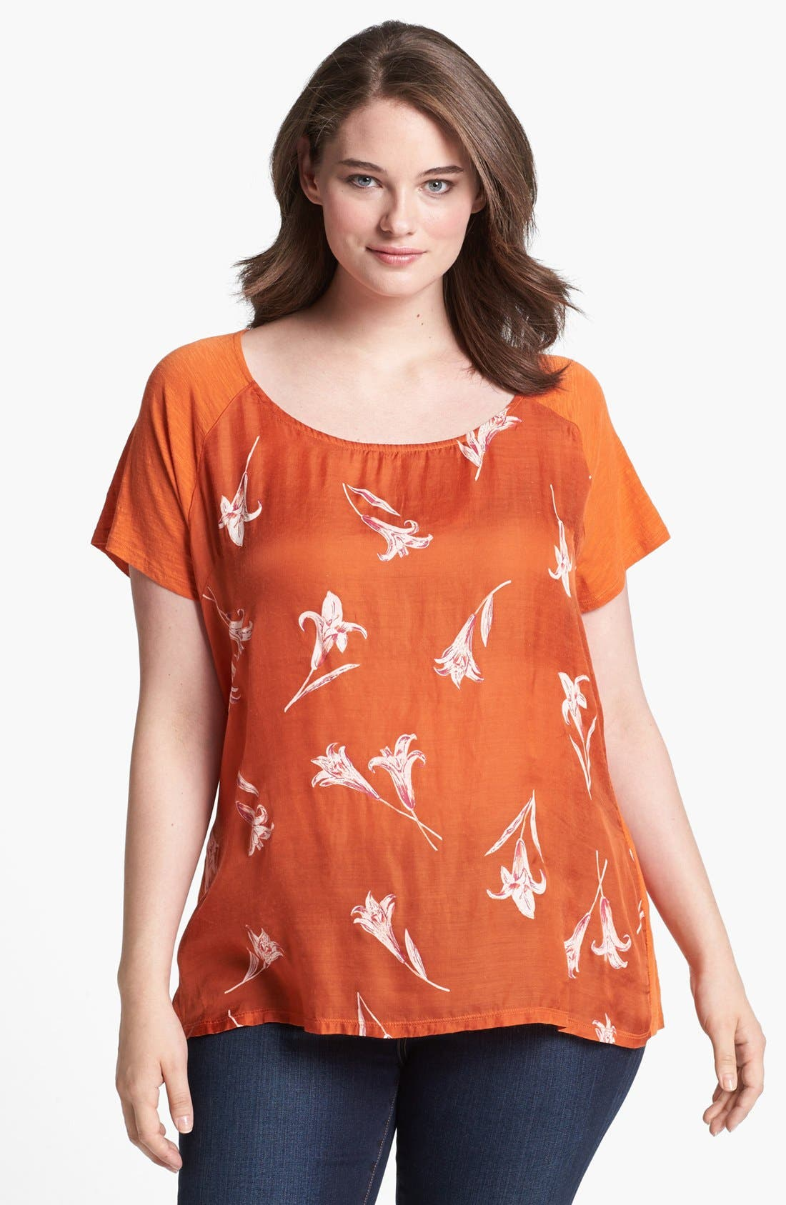 Main Image - Lucky Brand 'Lily' Woven Front Tee (Plus Size)