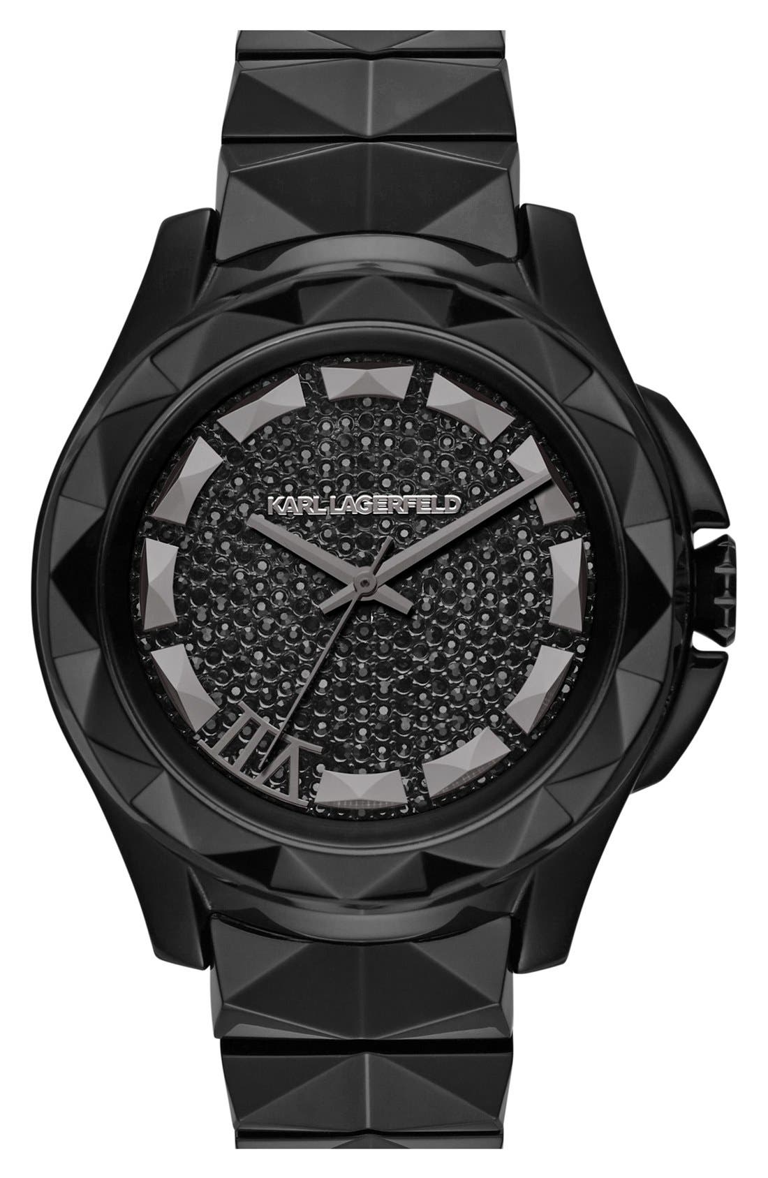 Alternate Image 1 Selected - KARL LAGERFELD '7' Faceted Bezel Ceramic Bracelet Watch, 44mm