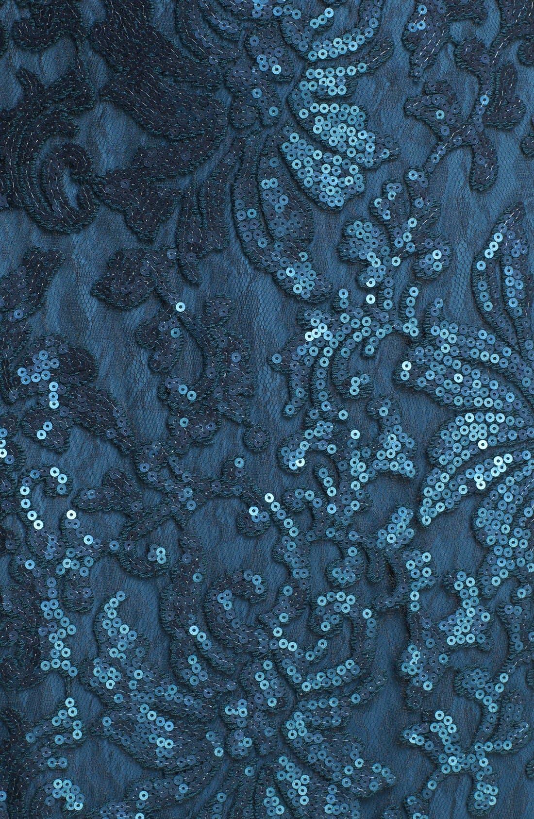 Alternate Image 3  - Tadashi Shoji Sequin Lace Off Shoulder Gown